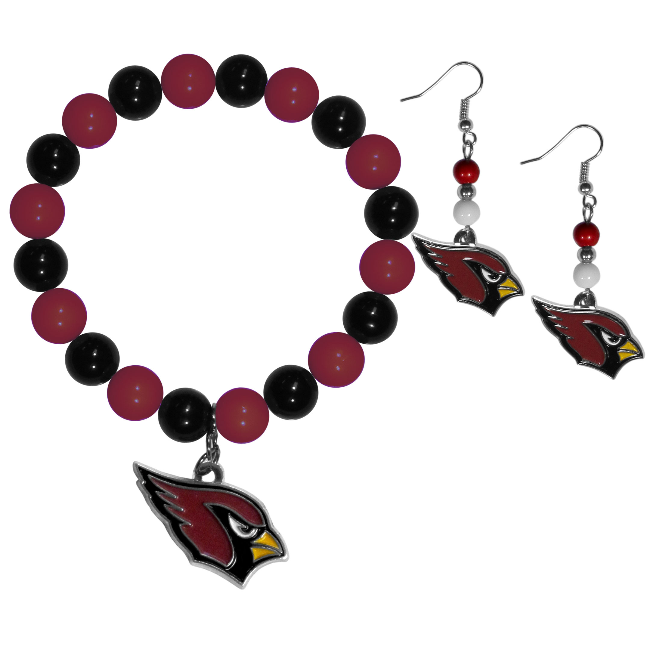 Arizona Cardinals Fan Bead Earrings and Bracelet Set - This fun and colorful Arizona Cardinals fan bead jewelry set is fun and casual with eye-catching beads in bright team colors. The fashionable dangle earrings feature a team colored beads that drop down to a carved and enameled charm. The stretch bracelet has larger matching beads that make a striking statement and have a matching team charm. These sassy yet sporty jewelry pieces make a perfect gift for any female fan. Spice up your game-day outfit with these fun colorful earrings and bracelet that are also cute enough for any day.