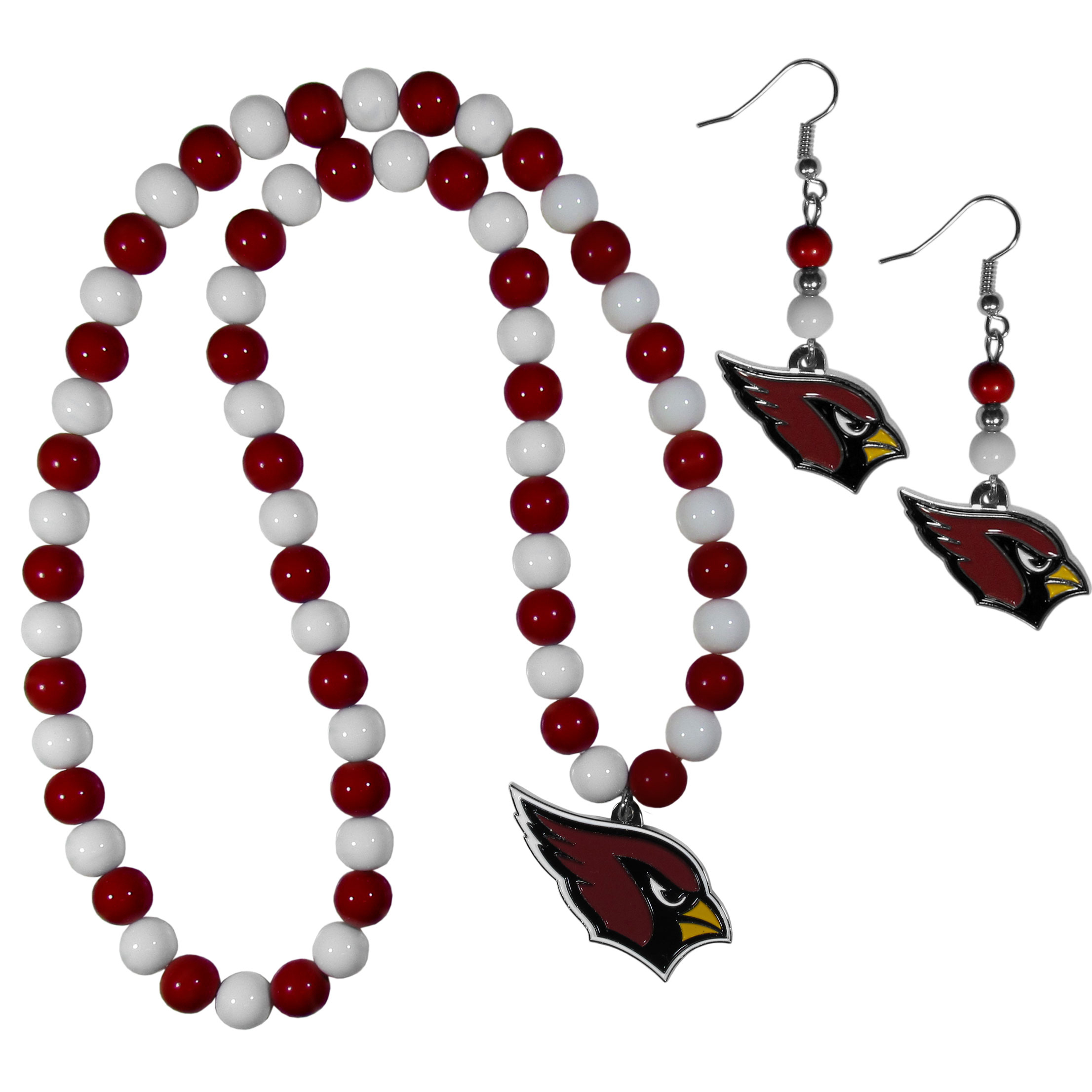 Arizona Cardinals Fan Bead Earrings and Necklace Set - These fun and colorful Arizona Cardinals fan bead jewelry pieces are an eyecatching way to show off your team spirit. The earrings feature hypoallergenic, nickel free fishhook post and 2 team colored beads with a beautifully carved team charm to finish this attractive dangle look. The mathcing bracelet has alternating team colored beads on a stretch cord and features a matching team charm.