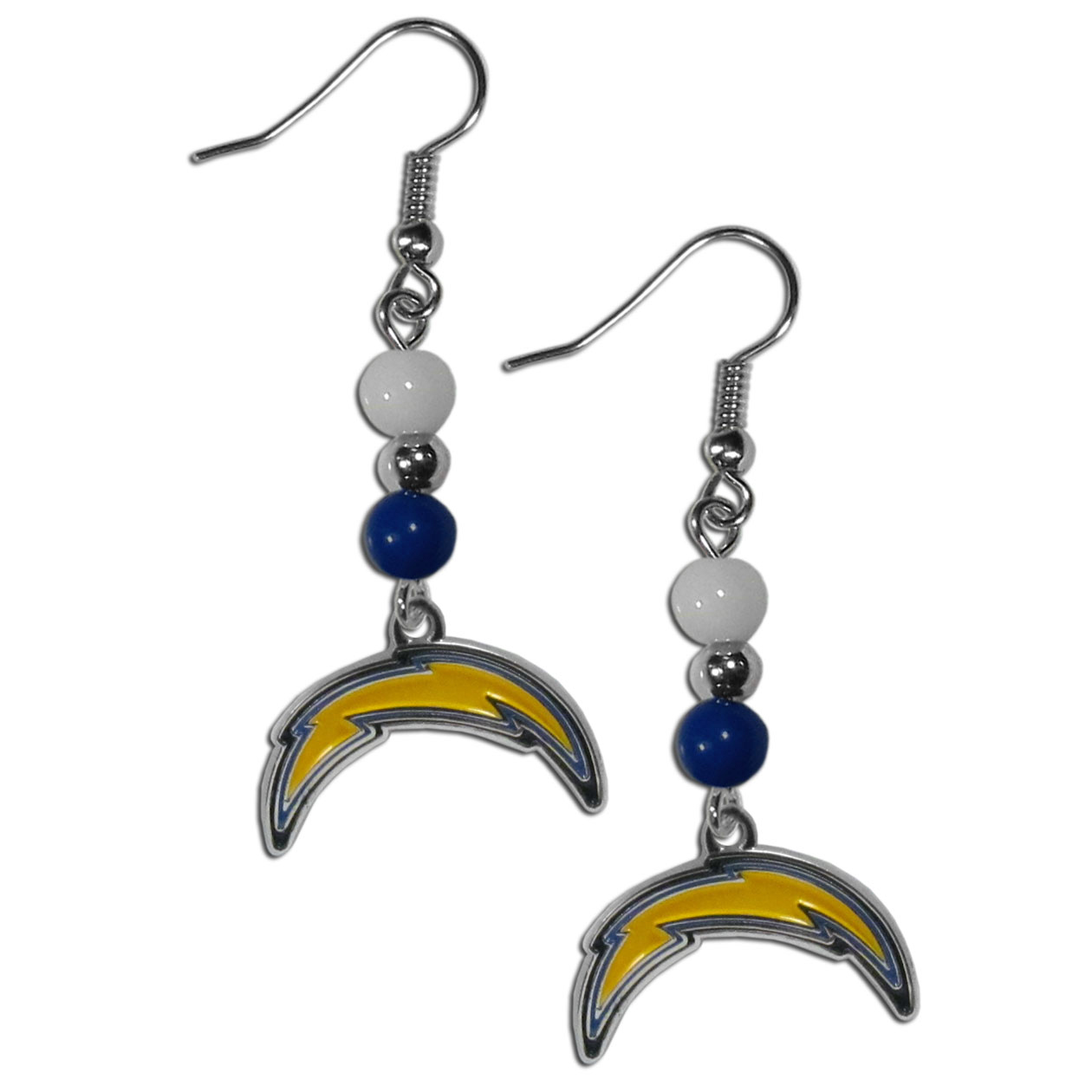 Los Angeles Chargers Fan Bead Dangle Earrings - Love your team, show it off with our Los Angeles Chargers bead dangle earrings! These super cute earrings hang approximately 2 inches and features 2 team colored beads and a high polish team charm. A must have for game day!