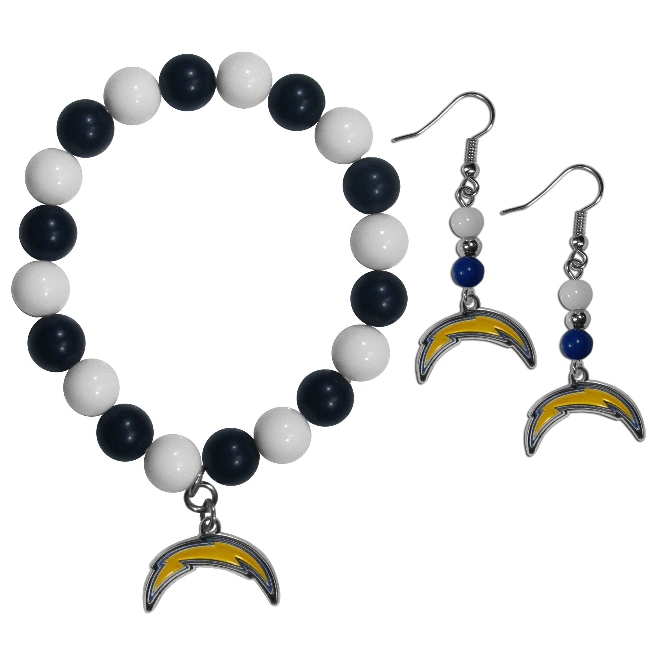 Los Angeles Chargers Fan Bead Earrings and Bracelet Set - This fun and colorful Los Angeles Chargers fan bead jewelry set is fun and casual with eye-catching beads in bright team colors. The fashionable dangle earrings feature a team colored beads that drop down to a carved and enameled charm. The stretch bracelet has larger matching beads that make a striking statement and have a matching team charm. These sassy yet sporty jewelry pieces make a perfect gift for any female fan. Spice up your game-day outfit with these fun colorful earrings and bracelet that are also cute enough for any day.