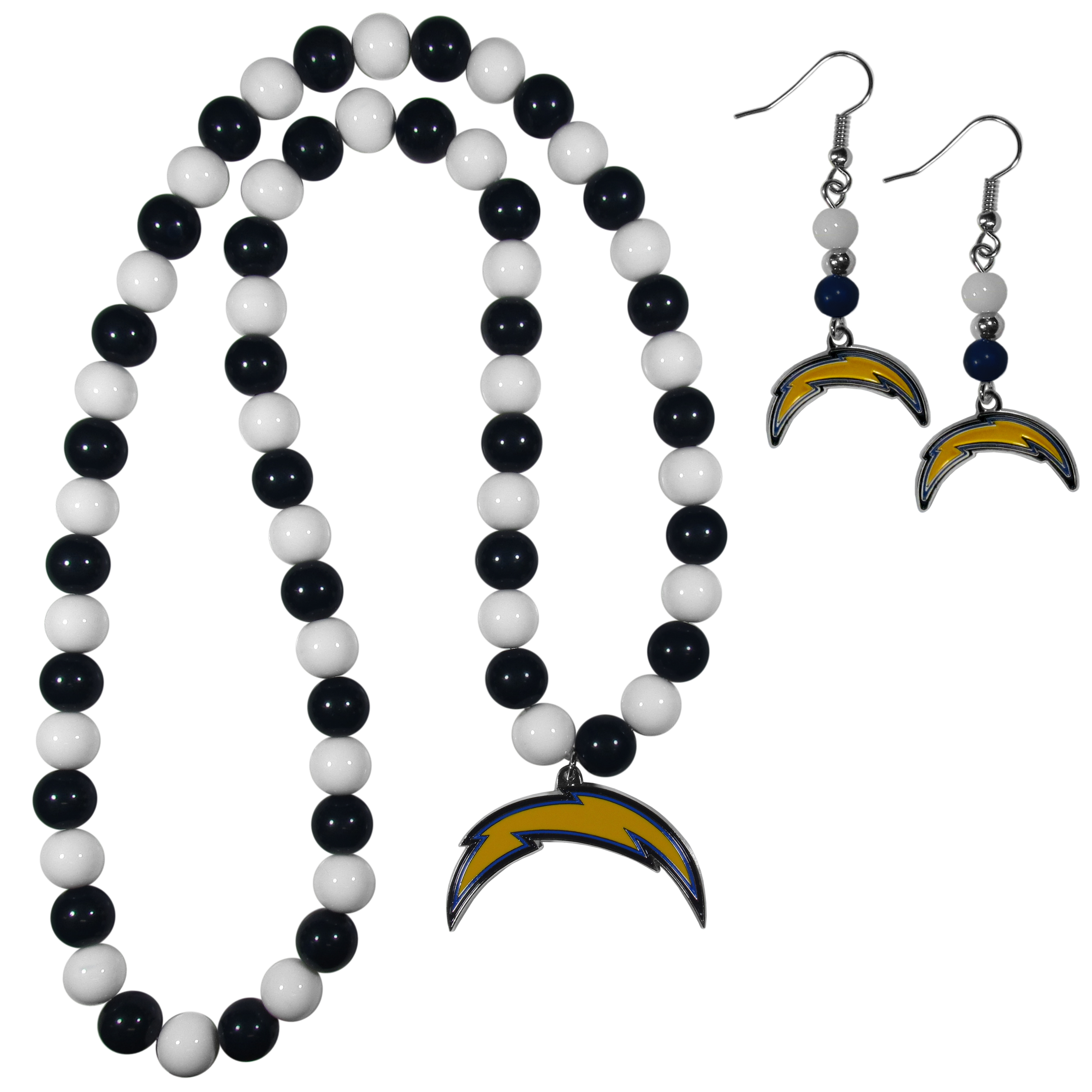 Los Angeles Chargers Fan Bead Earrings and Necklace Set - These fun and colorful Los Angeles Chargers fan bead jewelry pieces are an eyecatching way to show off your team spirit. The earrings feature hypoallergenic, nickel free fishhook post and 2 team colored beads with a beautifully carved team charm to finish this attractive dangle look. The mathcing bracelet has alternating team colored beads on a stretch cord and features a matching team charm.