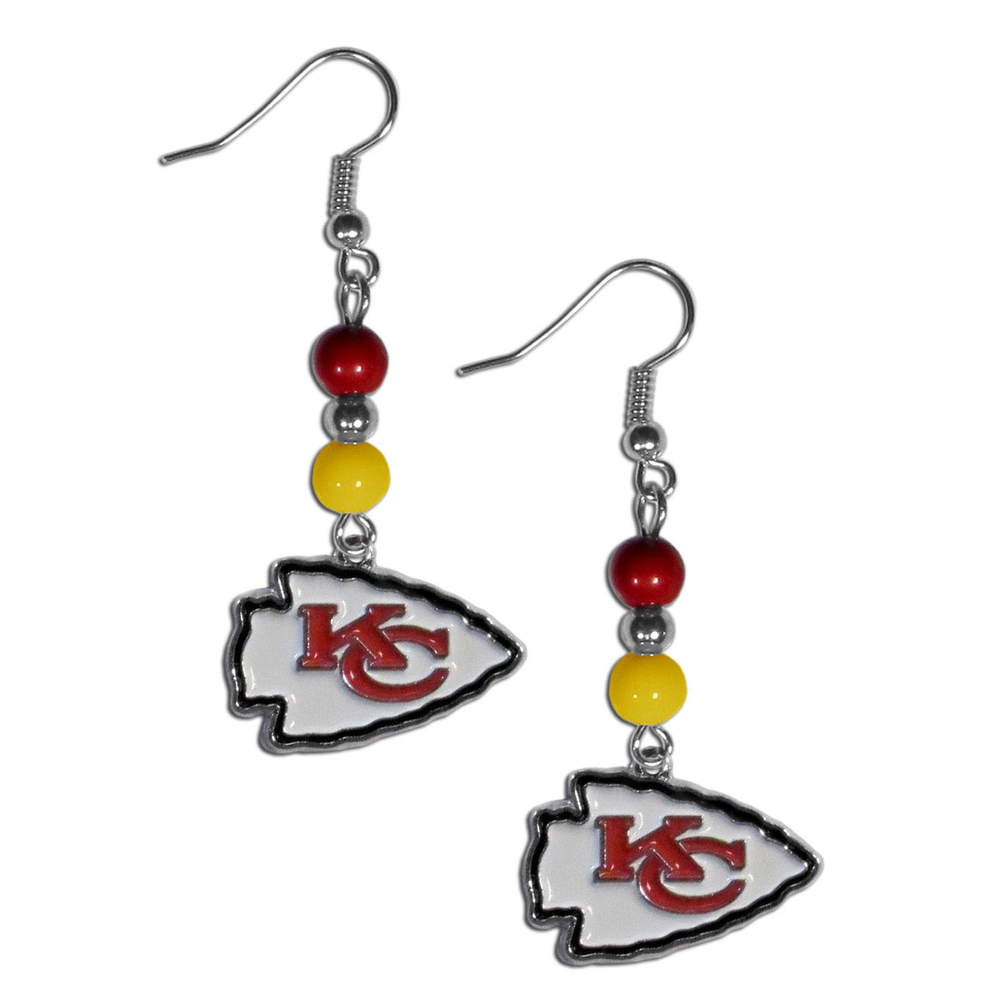 Kansas City Chiefs Fan Bead Dangle Earrings - Love your team, show it off with our Kansas City Chiefs bead dangle earrings! These super cute earrings hang approximately 2 inches and features 2 team colored beads and a high polish team charm. A must have for game day!