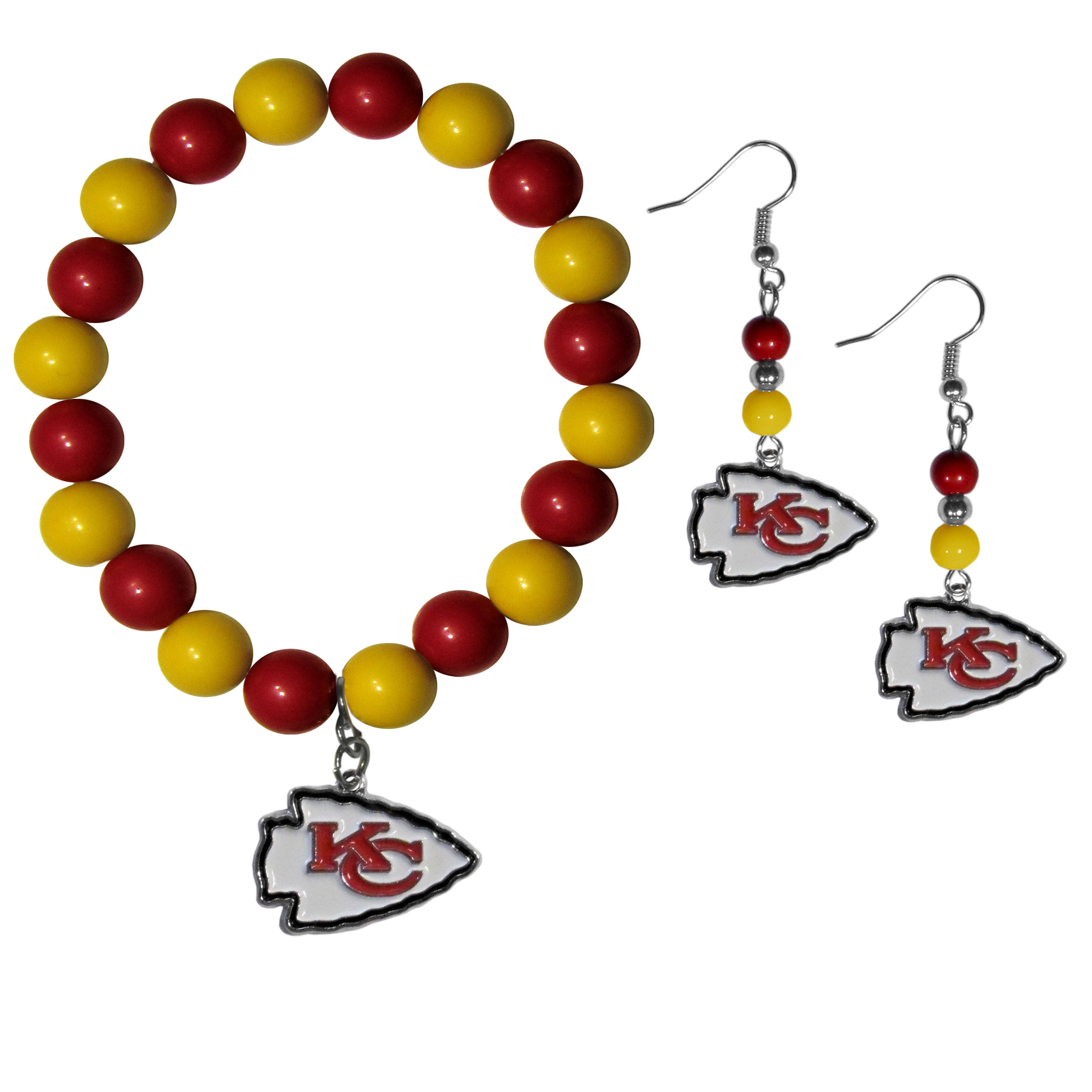 Kansas City Chiefs Fan Bead Earrings and Bracelet Set - This fun and colorful Kansas City Chiefs fan bead jewelry set is fun and casual with eye-catching beads in bright team colors. The fashionable dangle earrings feature a team colored beads that drop down to a carved and enameled charm. The stretch bracelet has larger matching beads that make a striking statement and have a matching team charm. These sassy yet sporty jewelry pieces make a perfect gift for any female fan. Spice up your game-day outfit with these fun colorful earrings and bracelet that are also cute enough for any day.