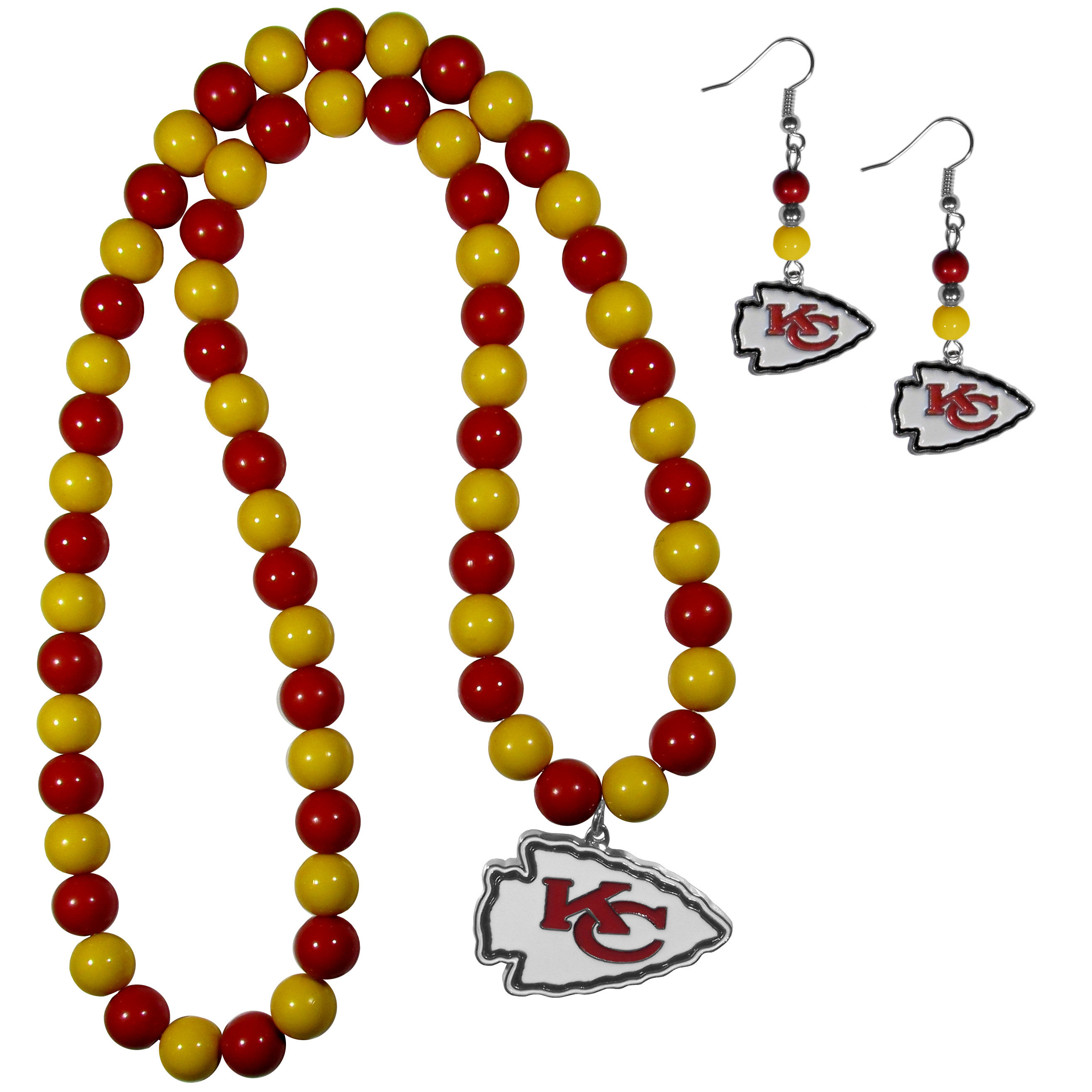 Kansas City Chiefs Fan Bead Earrings and Necklace Set - These fun and colorful Kansas City Chiefs fan bead jewelry pieces are an eyecatching way to show off your team spirit. The earrings feature hypoallergenic, nickel free fishhook post and 2 team colored beads with a beautifully carved team charm to finish this attractive dangle look. The mathcing bracelet has alternating team colored beads on a stretch cord and features a matching team charm.