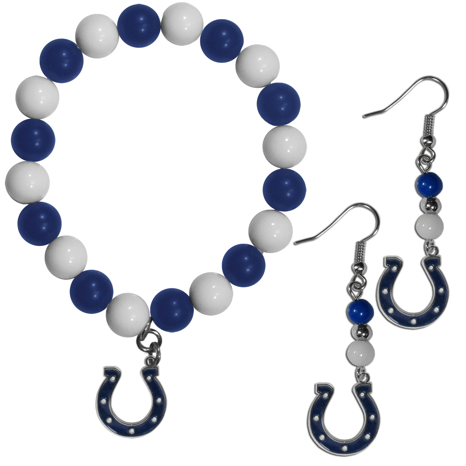 Indianapolis Colts Fan Bead Earrings and Bracelet Set - This fun and colorful Indianapolis Colts fan bead jewelry set is fun and casual with eye-catching beads in bright team colors. The fashionable dangle earrings feature a team colored beads that drop down to a carved and enameled charm. The stretch bracelet has larger matching beads that make a striking statement and have a matching team charm. These sassy yet sporty jewelry pieces make a perfect gift for any female fan. Spice up your game-day outfit with these fun colorful earrings and bracelet that are also cute enough for any day.