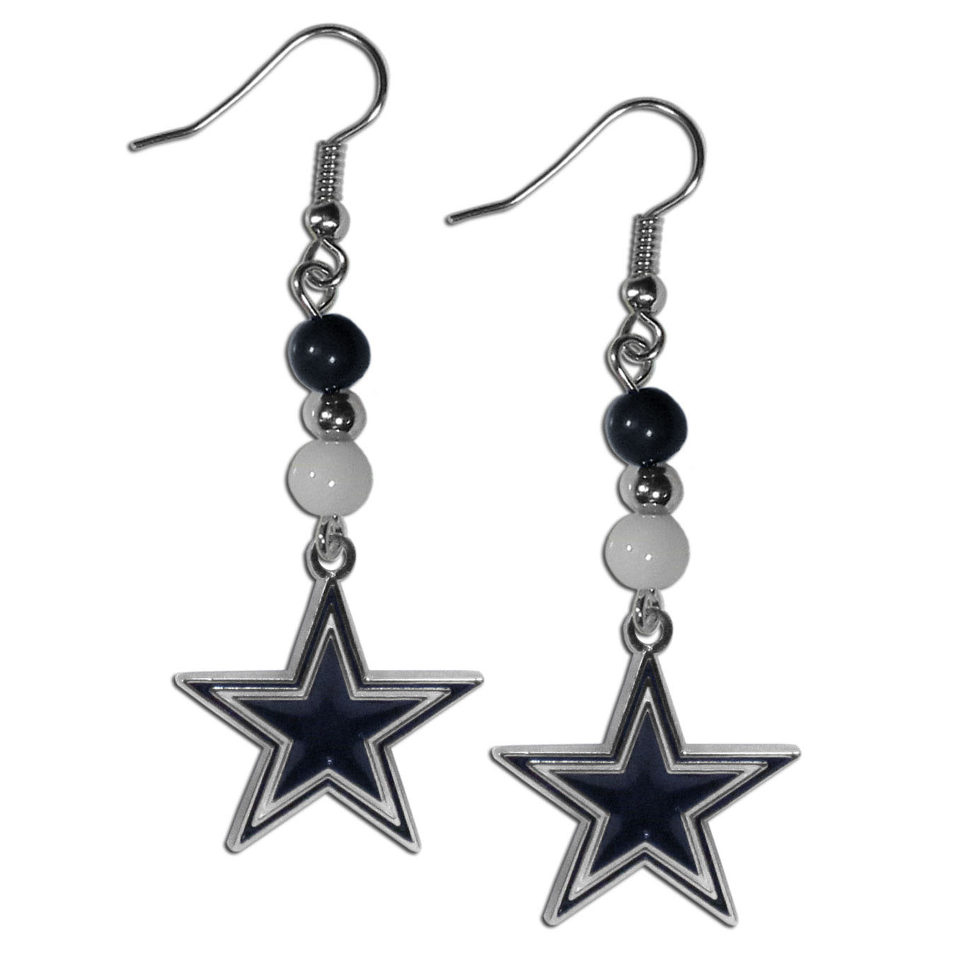 Dallas Cowboys Fan Bead Dangle Earrings - Love your team, show it off with our Dallas Cowboys bead dangle earrings! These super cute earrings hang approximately 2 inches and features 2 team colored beads and a high polish team charm. A must have for game day!