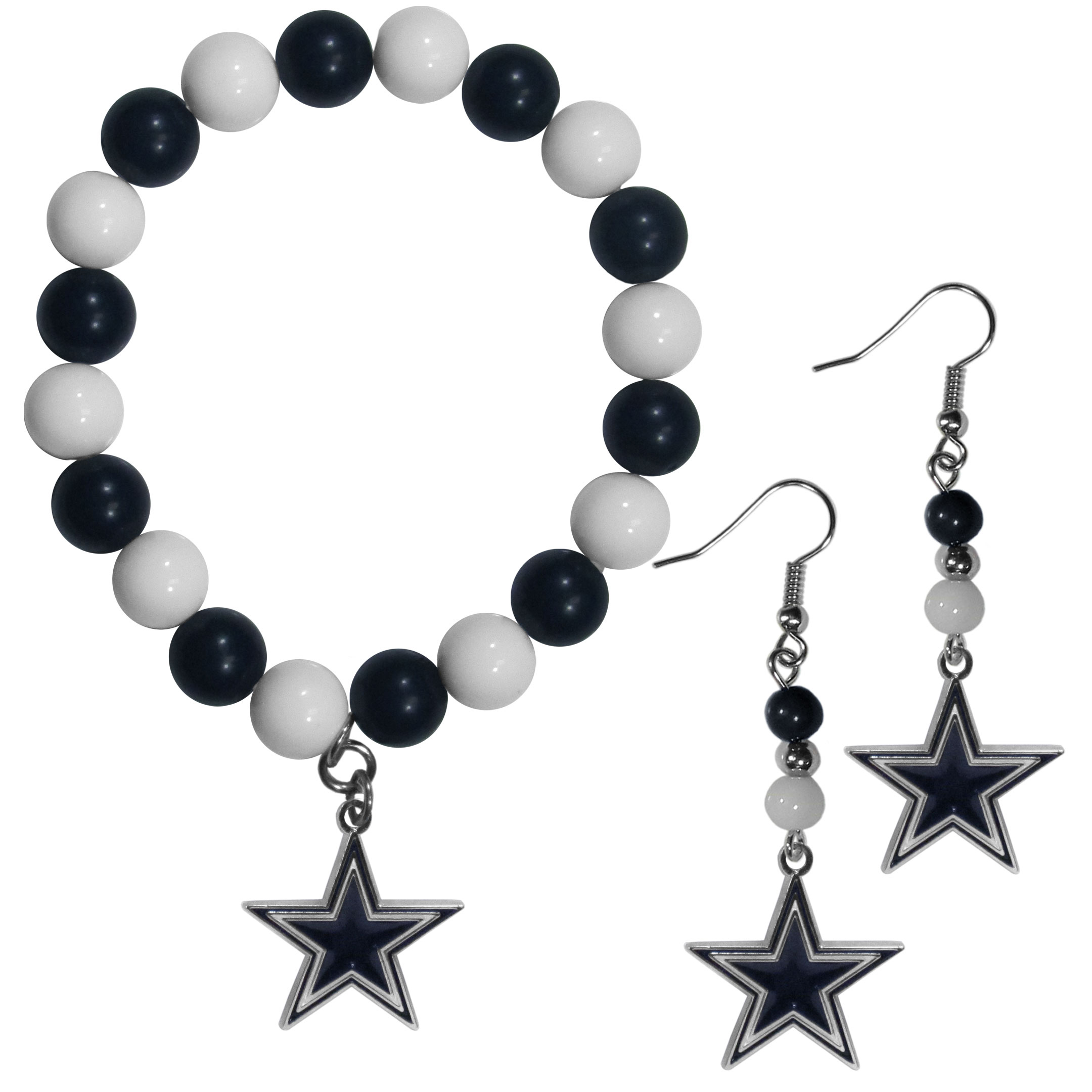 Dallas Cowboys Fan Bead Earrings and Bracelet Set - This fun and colorful Dallas Cowboys fan bead jewelry set is fun and casual with eye-catching beads in bright team colors. The fashionable dangle earrings feature a team colored beads that drop down to a carved and enameled charm. The stretch bracelet has larger matching beads that make a striking statement and have a matching team charm. These sassy yet sporty jewelry pieces make a perfect gift for any female fan. Spice up your game-day outfit with these fun colorful earrings and bracelet that are also cute enough for any day.
