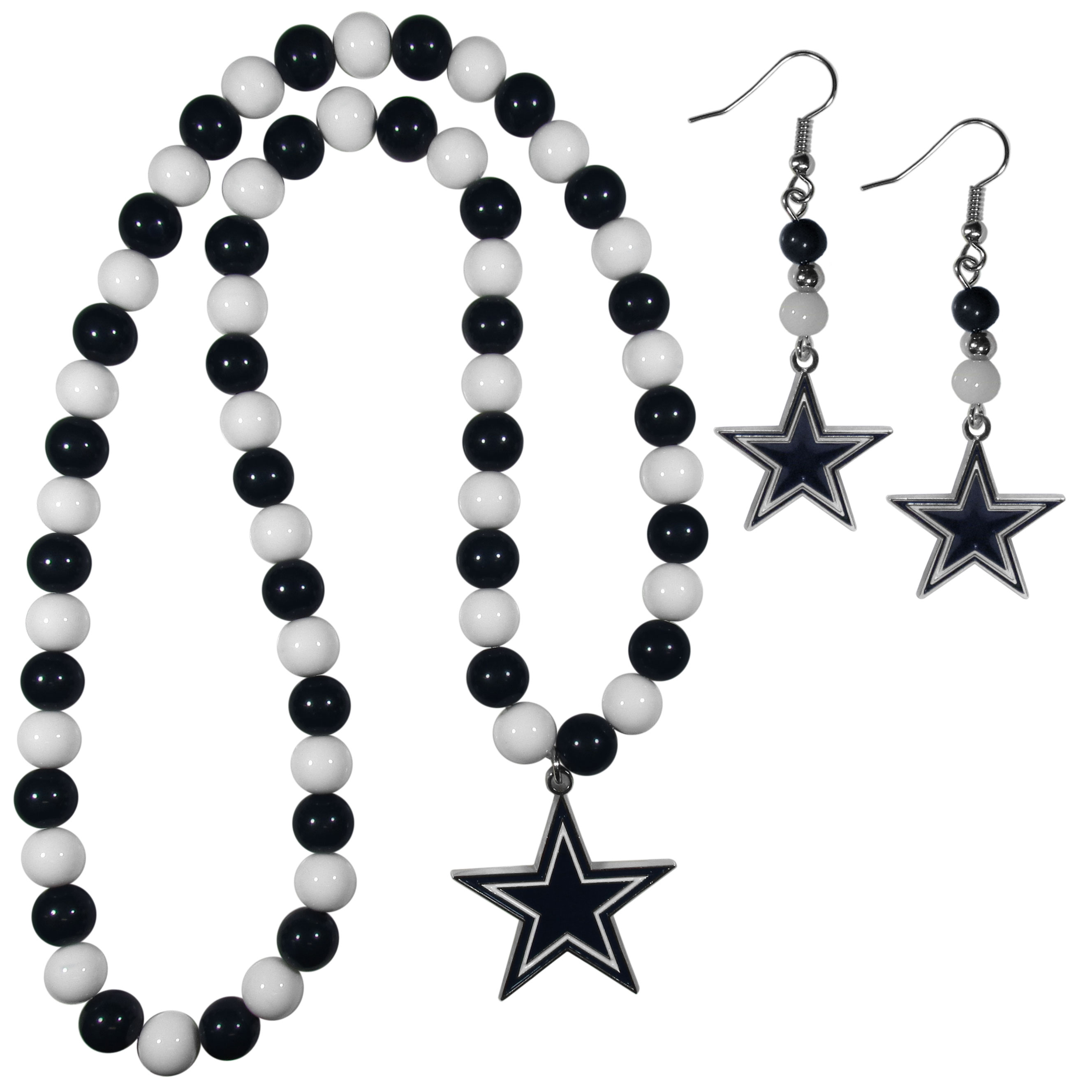 Dallas Cowboys Fan Bead Earrings and Necklace Set - These fun and colorful Dallas Cowboys fan bead jewelry pieces are an eyecatching way to show off your team spirit. The earrings feature hypoallergenic, nickel free fishhook post and 2 team colored beads with a beautifully carved team charm to finish this attractive dangle look. The mathcing bracelet has alternating team colored beads on a stretch cord and features a matching team charm.