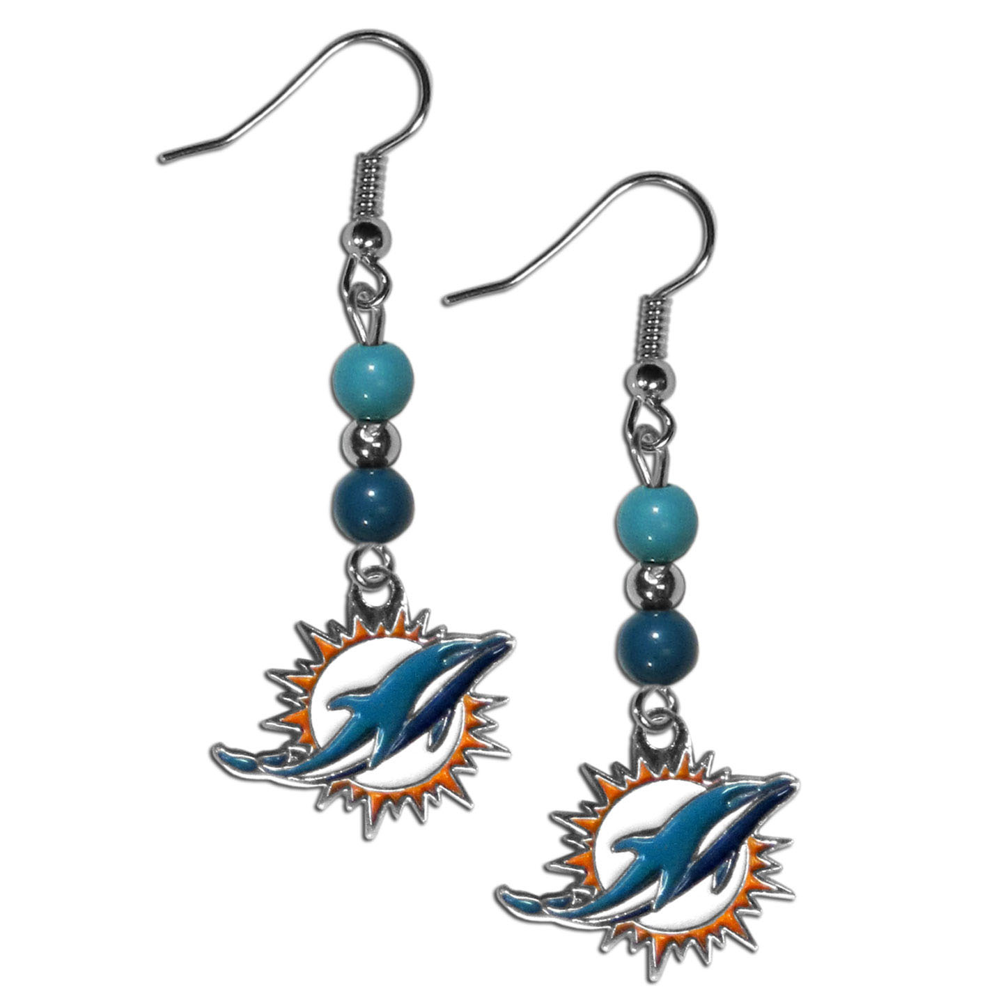 Miami Dolphins Fan Bead Dangle Earrings - Love your team, show it off with our Miami Dolphins bead dangle earrings! These super cute earrings hang approximately 2 inches and features 2 team colored beads and a high polish team charm. A must have for game day!