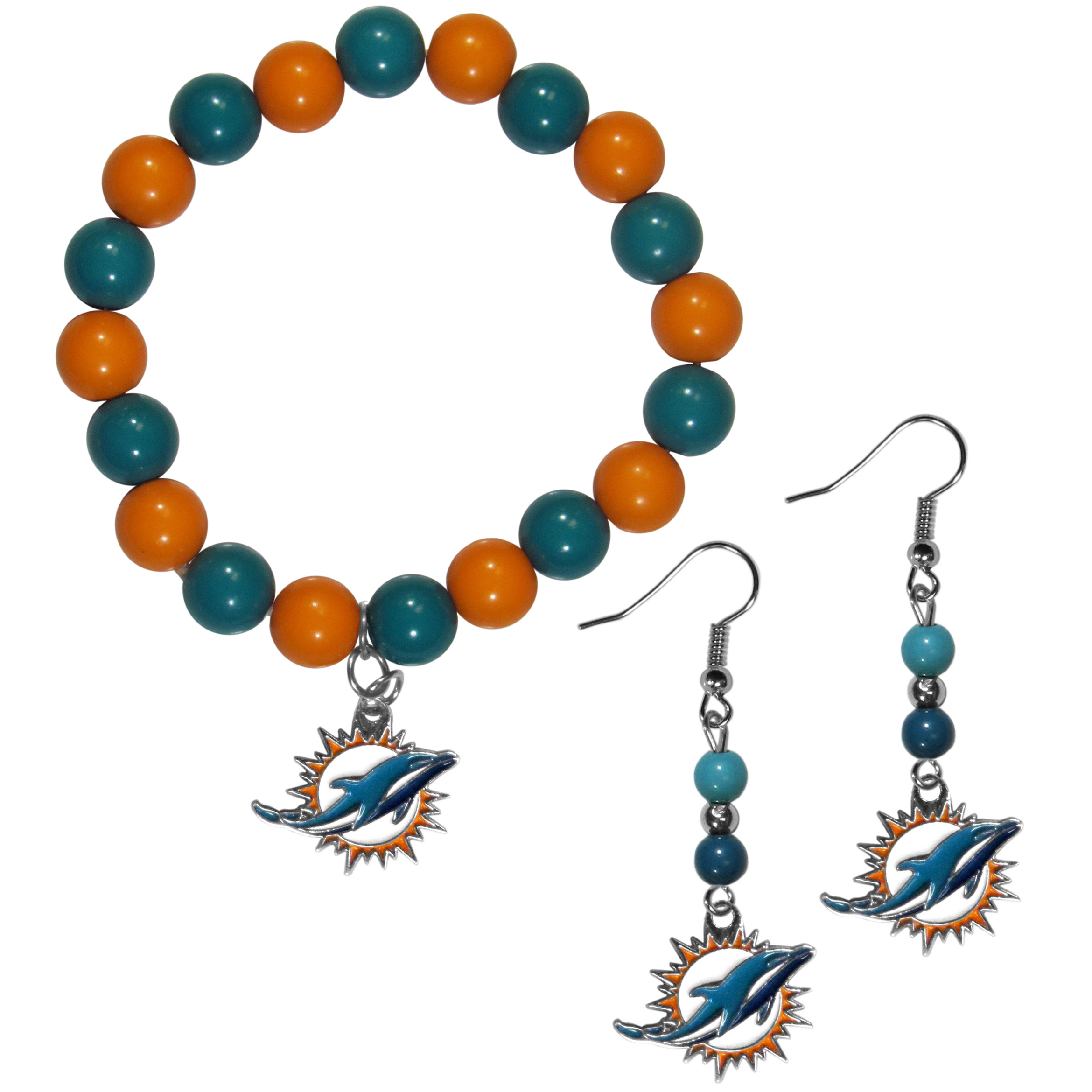 Miami Dolphins Fan Bead Earrings and Bracelet Set - This fun and colorful Miami Dolphins fan bead jewelry set is fun and casual with eye-catching beads in bright team colors. The fashionable dangle earrings feature a team colored beads that drop down to a carved and enameled charm. The stretch bracelet has larger matching beads that make a striking statement and have a matching team charm. These sassy yet sporty jewelry pieces make a perfect gift for any female fan. Spice up your game-day outfit with these fun colorful earrings and bracelet that are also cute enough for any day.