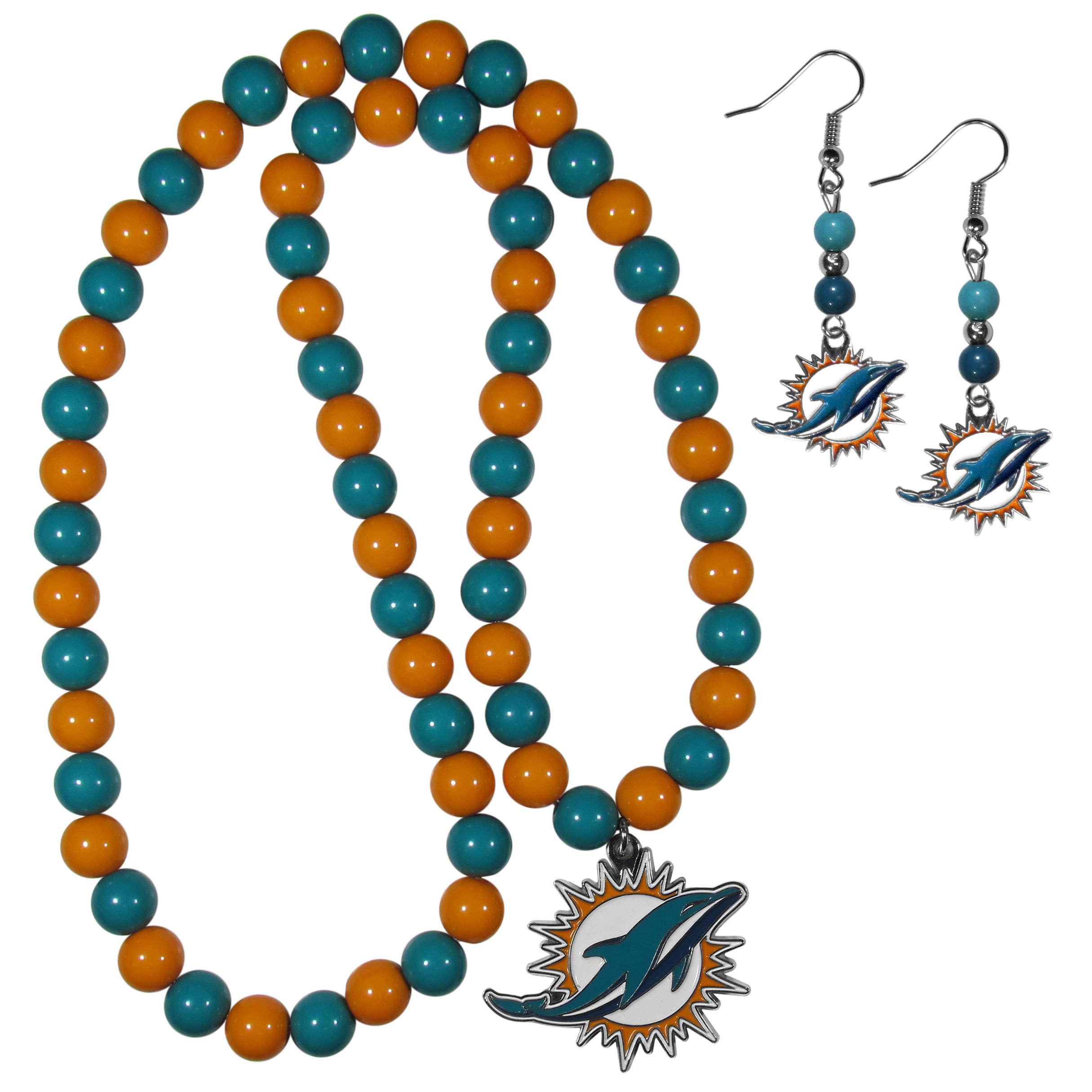 Miami Dolphins Fan Bead Earrings and Necklace Set - These fun and colorful Miami Dolphins fan bead jewelry pieces are an eyecatching way to show off your team spirit. The earrings feature hypoallergenic, nickel free fishhook post and 2 team colored beads with a beautifully carved team charm to finish this attractive dangle look. The mathcing bracelet has alternating team colored beads on a stretch cord and features a matching team charm.