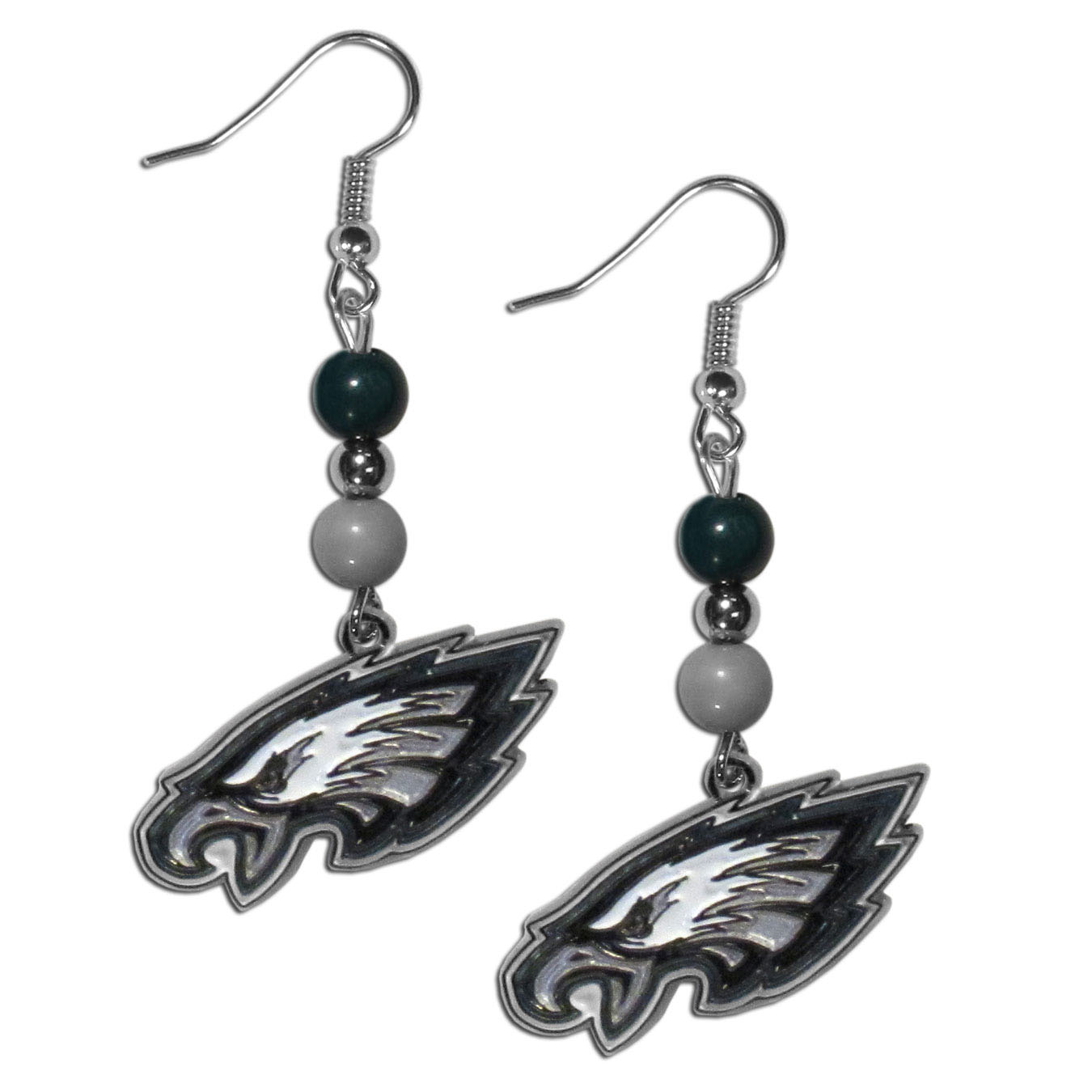 Philadelphia Eagles Fan Bead Dangle Earrings - Love your team, show it off with our Philadelphia Eagles bead dangle earrings! These super cute earrings hang approximately 2 inches and features 2 team colored beads and a high polish team charm. A must have for game day!