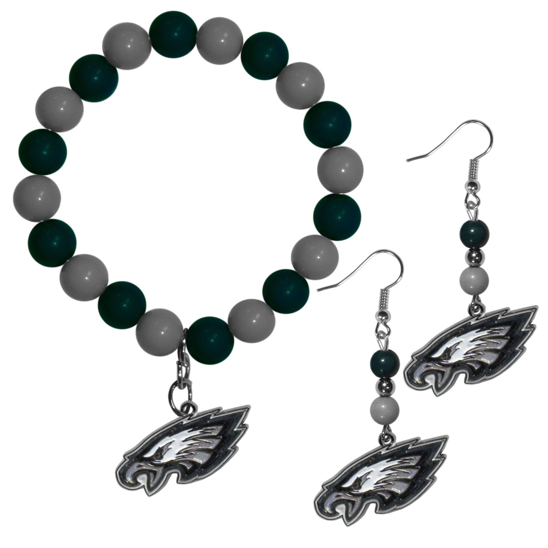 Philadelphia Eagles Fan Bead Earrings and Bracelet Set - This fun and colorful Philadelphia Eagles fan bead jewelry set is fun and casual with eye-catching beads in bright team colors. The fashionable dangle earrings feature a team colored beads that drop down to a carved and enameled charm. The stretch bracelet has larger matching beads that make a striking statement and have a matching team charm. These sassy yet sporty jewelry pieces make a perfect gift for any female fan. Spice up your game-day outfit with these fun colorful earrings and bracelet that are also cute enough for any day.