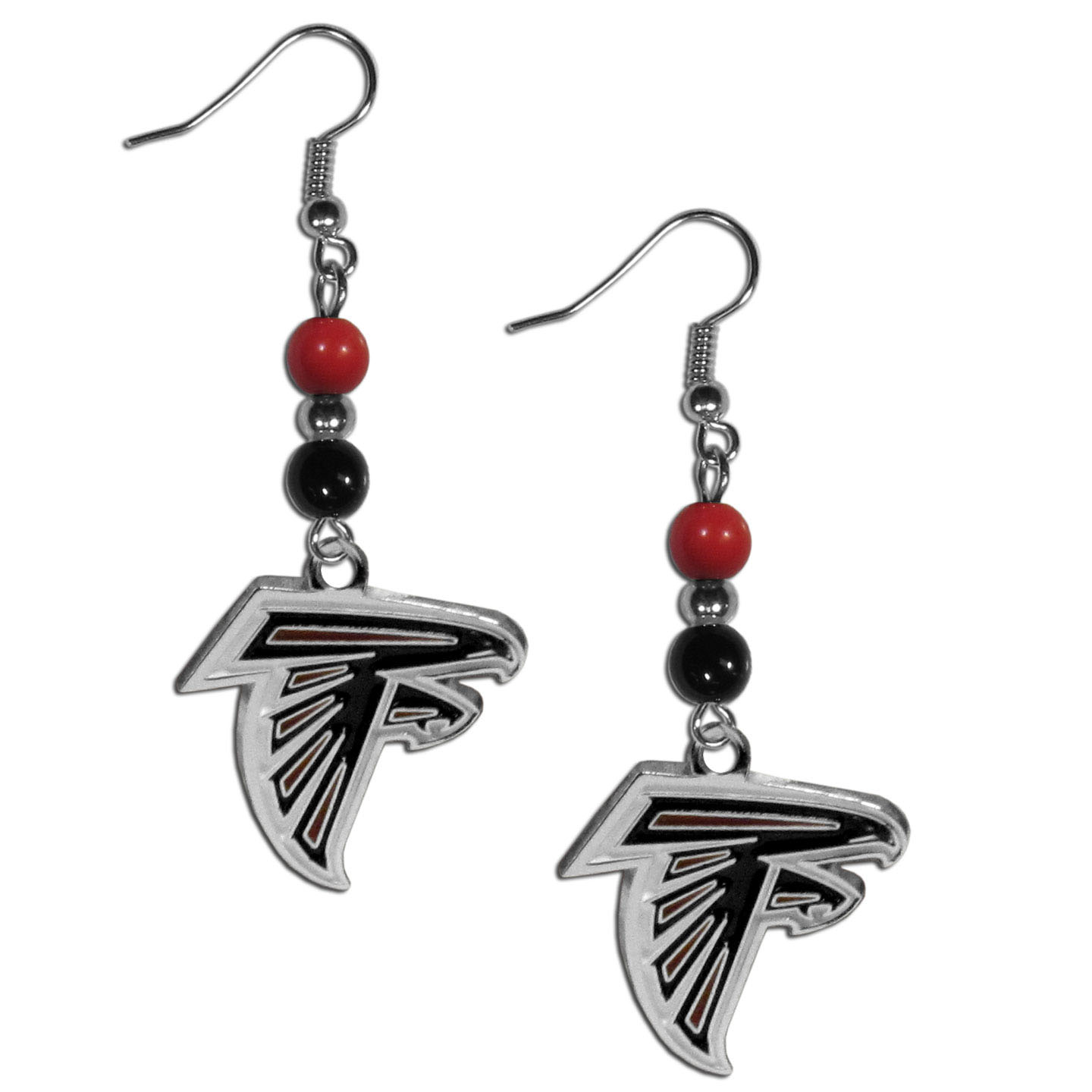 Atlanta Falcons Fan Bead Dangle Earrings - Love your team, show it off with our Atlanta Falcons bead dangle earrings! These super cute earrings hang approximately 2 inches and features 2 team colored beads and a high polish team charm. A must have for game day!