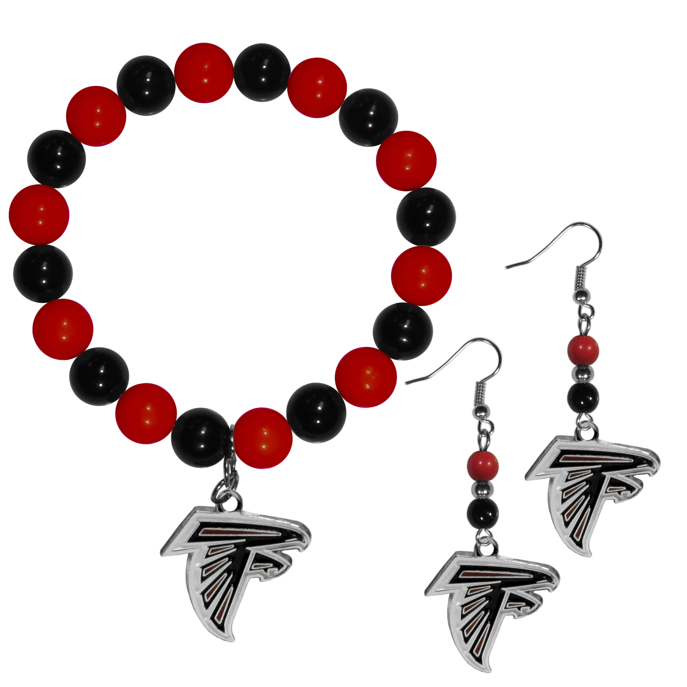 Atlanta Falcons Fan Bead Earrings and Bracelet Set - This fun and colorful Atlanta Falcons fan bead jewelry set is fun and casual with eye-catching beads in bright team colors. The fashionable dangle earrings feature a team colored beads that drop down to a carved and enameled charm. The stretch bracelet has larger matching beads that make a striking statement and have a matching team charm. These sassy yet sporty jewelry pieces make a perfect gift for any female fan. Spice up your game-day outfit with these fun colorful earrings and bracelet that are also cute enough for any day.