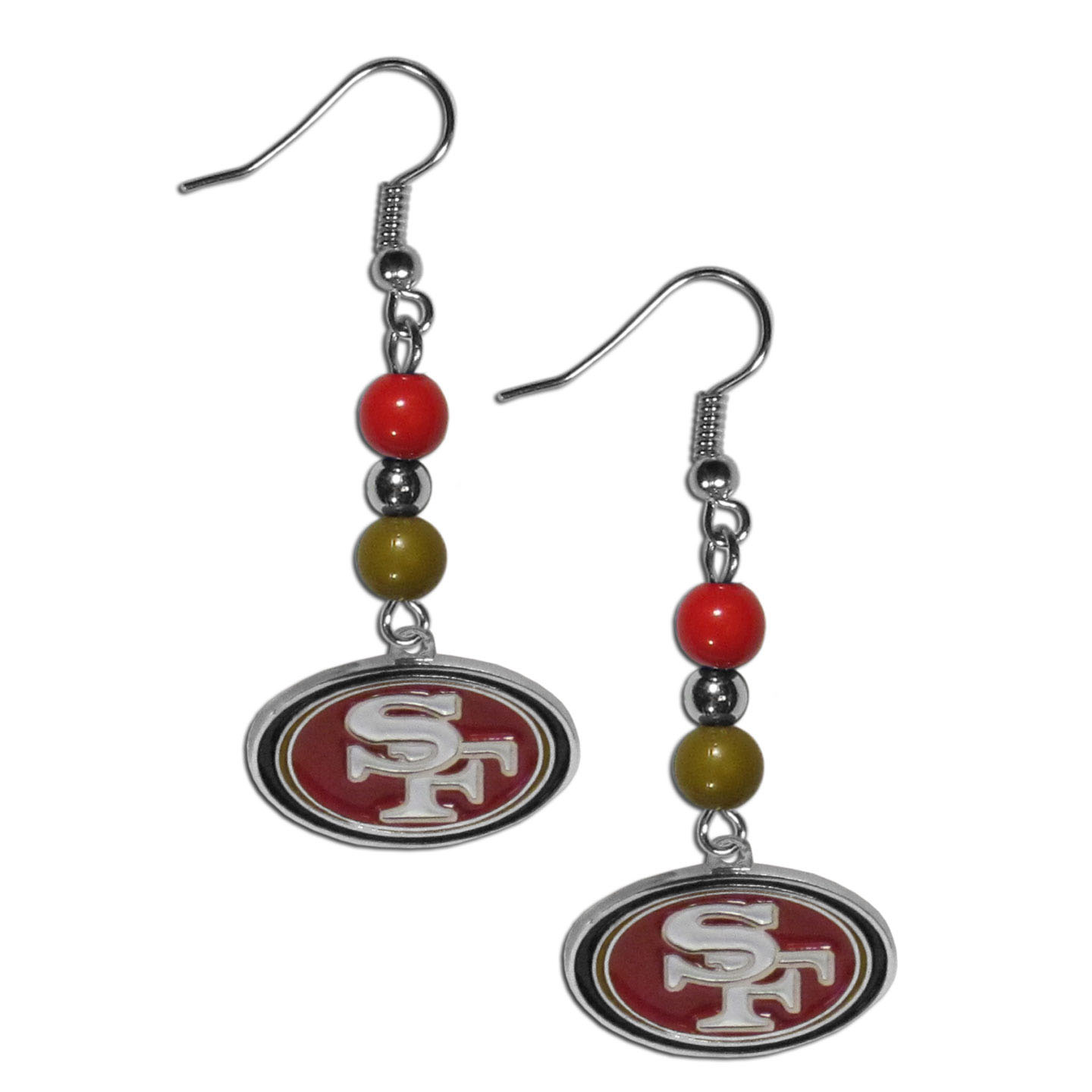 San Francisco 49ers Fan Bead Dangle Earrings - Love your team, show it off with our San Francisco 49ers bead dangle earrings! These super cute earrings hang approximately 2 inches and features 2 team colored beads and a high polish team charm. A must have for game day!