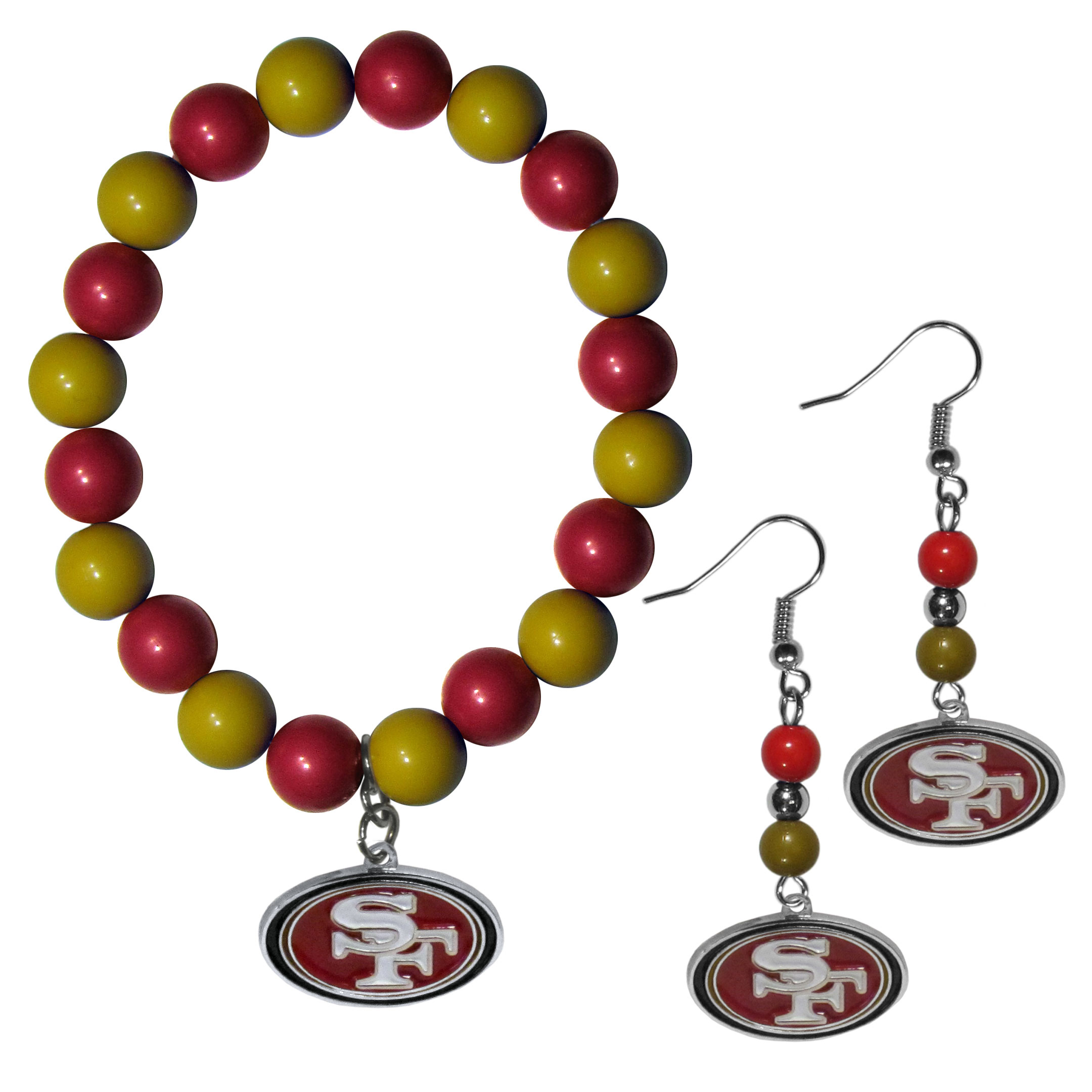 San Francisco 49ers Fan Bead Earrings and Bracelet Set - This fun and colorful San Francisco 49ers fan bead jewelry set is fun and casual with eye-catching beads in bright team colors. The fashionable dangle earrings feature a team colored beads that drop down to a carved and enameled charm. The stretch bracelet has larger matching beads that make a striking statement and have a matching team charm. These sassy yet sporty jewelry pieces make a perfect gift for any female fan. Spice up your game-day outfit with these fun colorful earrings and bracelet that are also cute enough for any day.