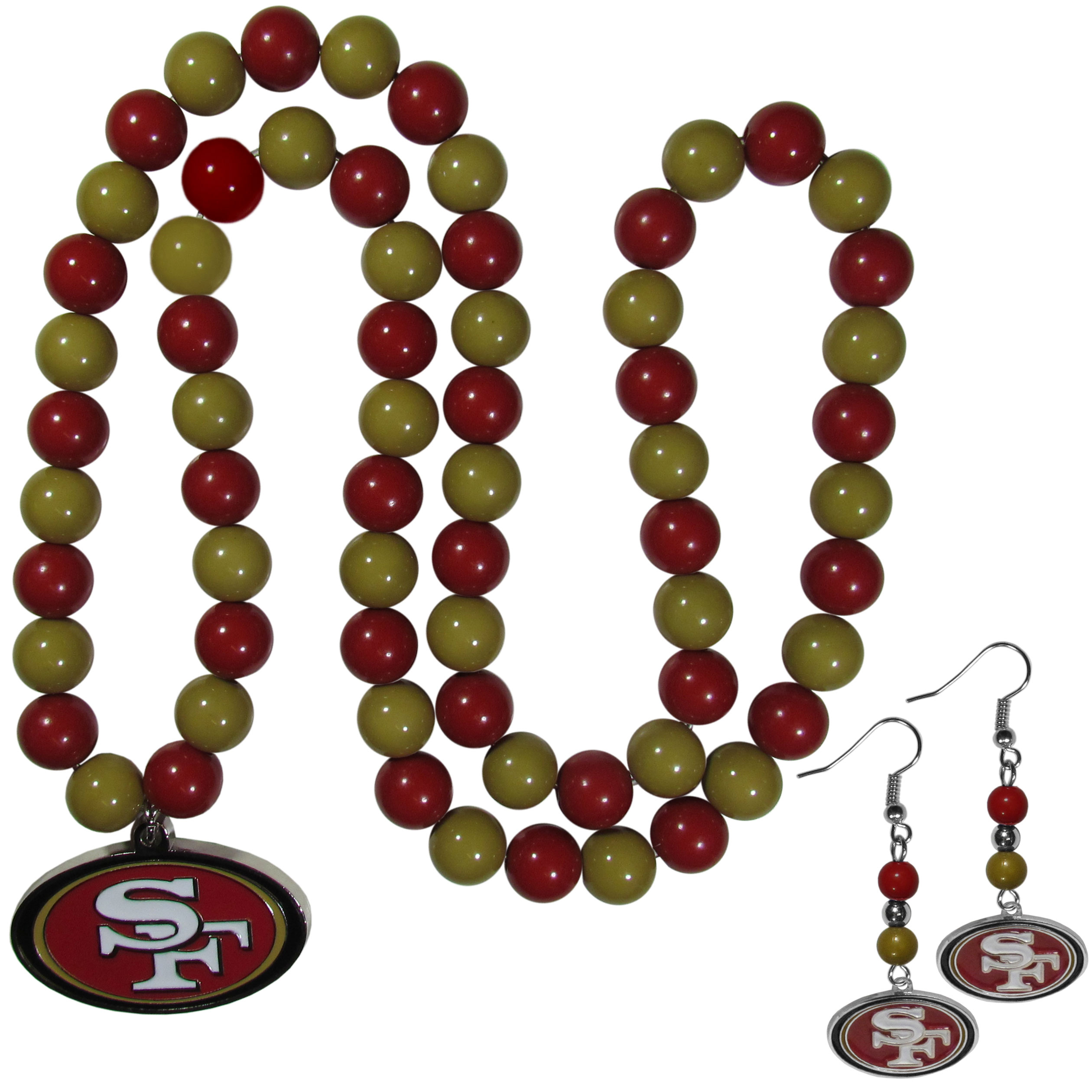 San Francisco 49ers Fan Bead Earrings and Necklace Set - These fun and colorful San Francisco 49ers fan bead jewelry pieces are an eyecatching way to show off your team spirit. The earrings feature hypoallergenic, nickel free fishhook post and 2 team colored beads with a beautifully carved team charm to finish this attractive dangle look. The mathcing bracelet has alternating team colored beads on a stretch cord and features a matching team charm.