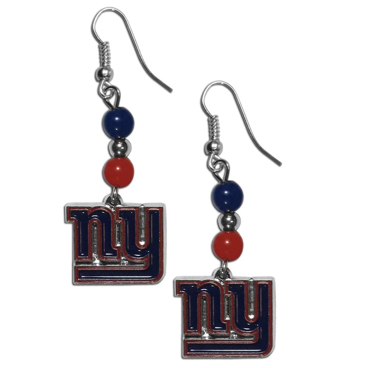 New York Giants Fan Bead Dangle Earrings - Love your team, show it off with our New York Giants bead dangle earrings! These super cute earrings hang approximately 2 inches and features 2 team colored beads and a high polish team charm. A must have for game day!
