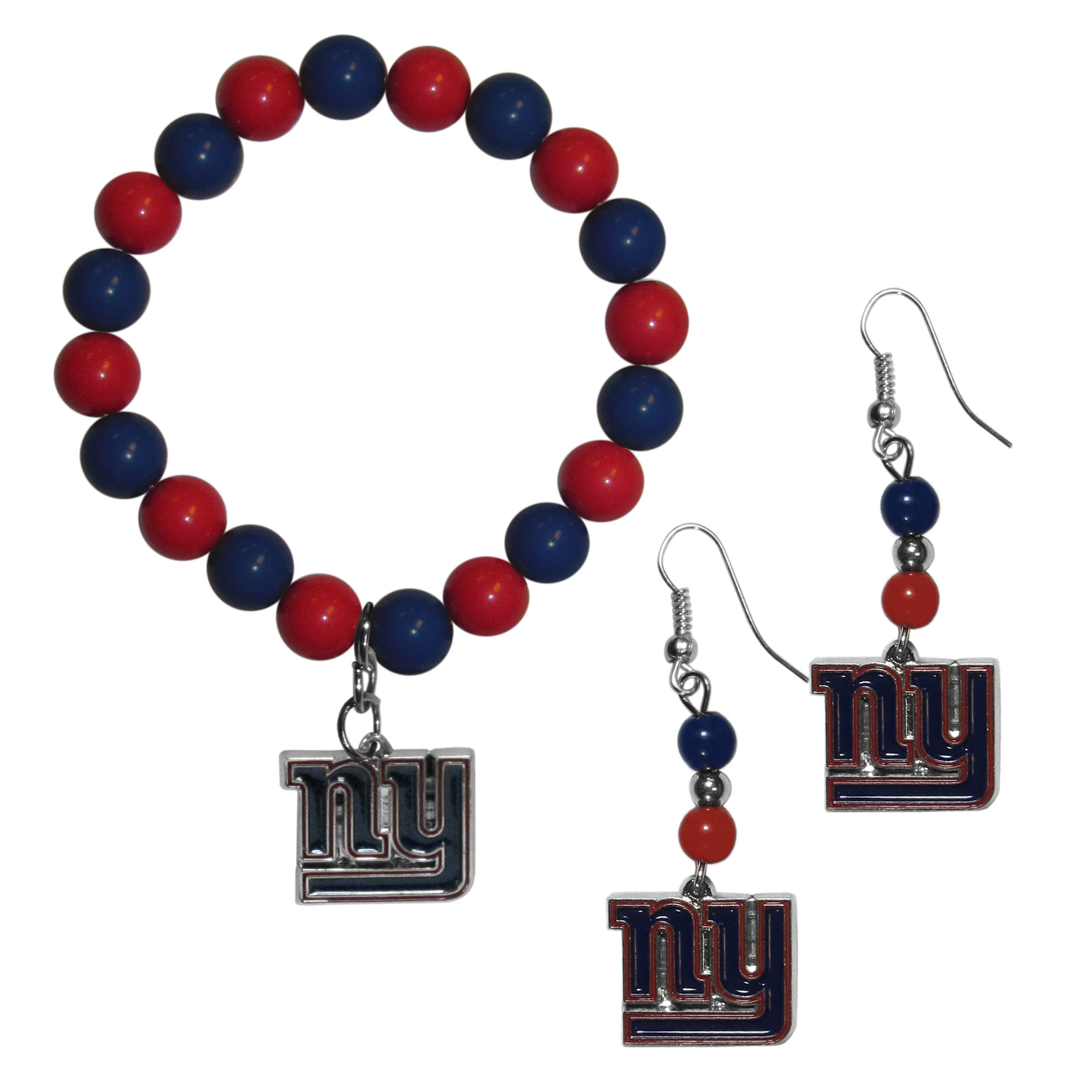 New York Giants Fan Bead Earrings and Bracelet Set - This fun and colorful New York Giants fan bead jewelry set is fun and casual with eye-catching beads in bright team colors. The fashionable dangle earrings feature a team colored beads that drop down to a carved and enameled charm. The stretch bracelet has larger matching beads that make a striking statement and have a matching team charm. These sassy yet sporty jewelry pieces make a perfect gift for any female fan. Spice up your game-day outfit with these fun colorful earrings and bracelet that are also cute enough for any day.