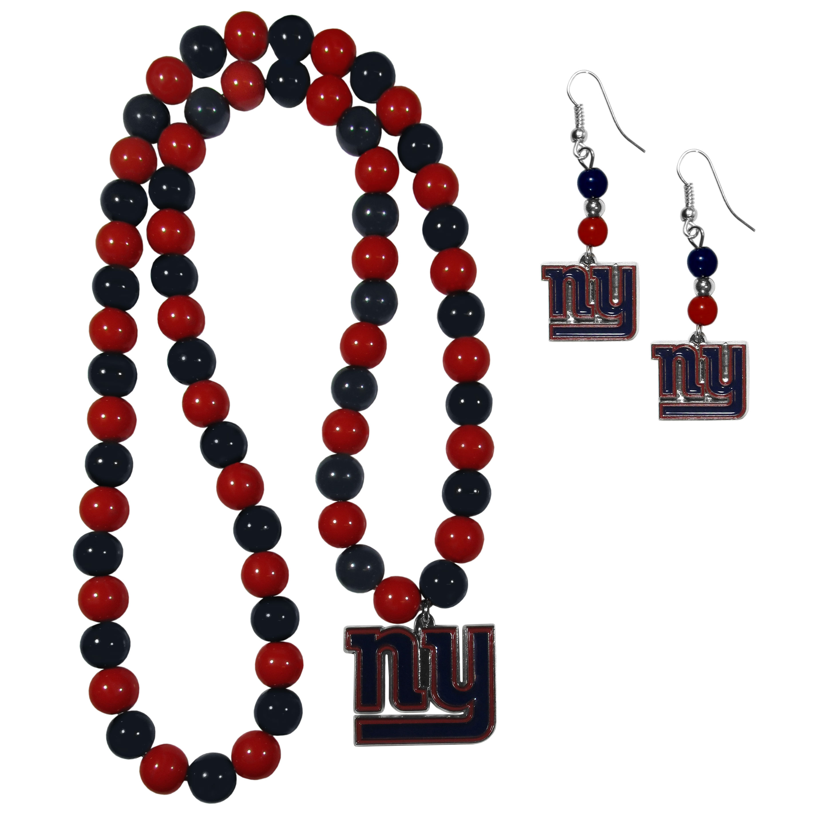 New York Giants Fan Bead Earrings and Necklace Set - These fun and colorful New York Giants fan bead jewelry pieces are an eyecatching way to show off your team spirit. The earrings feature hypoallergenic, nickel free fishhook post and 2 team colored beads with a beautifully carved team charm to finish this attractive dangle look. The mathcing bracelet has alternating team colored beads on a stretch cord and features a matching team charm.