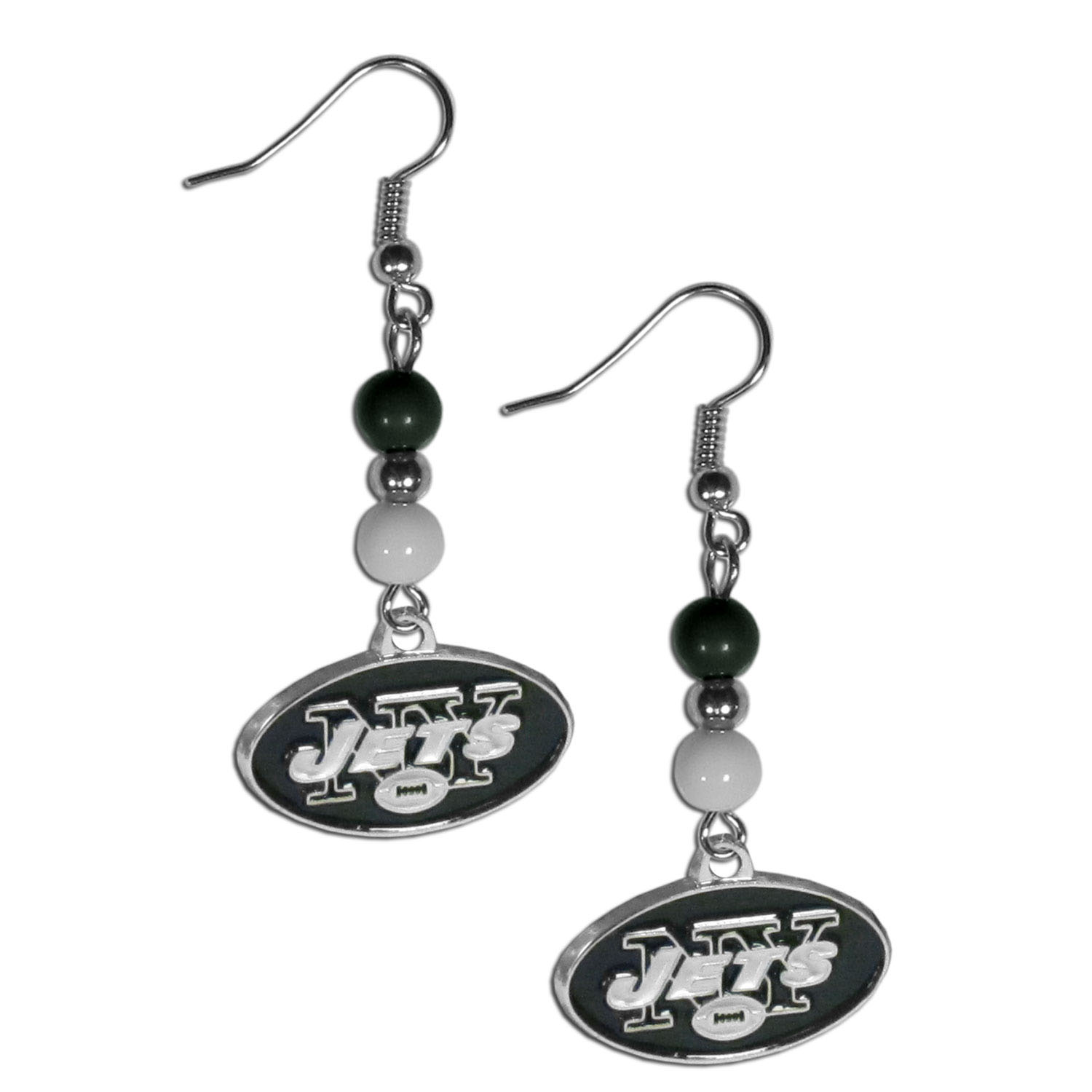 New York Jets Fan Bead Dangle Earrings - Love your team, show it off with our New York Jets bead dangle earrings! These super cute earrings hang approximately 2 inches and features 2 team colored beads and a high polish team charm. A must have for game day!