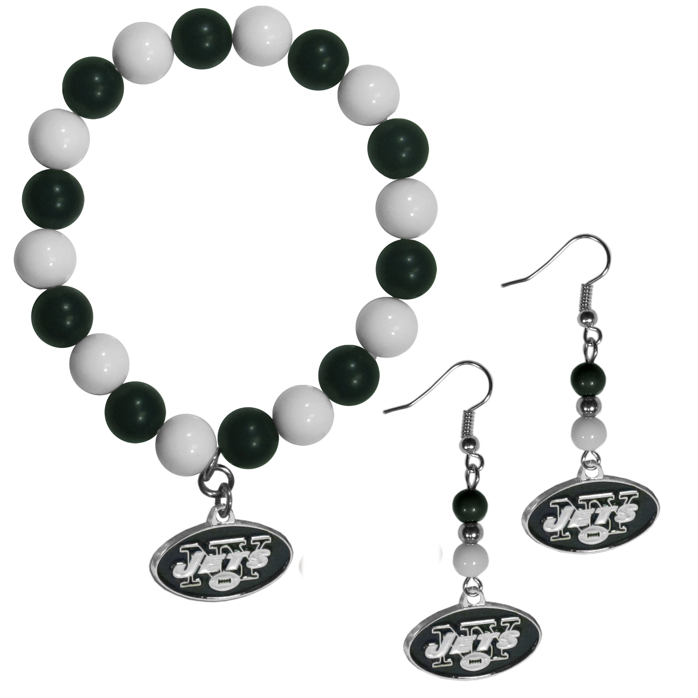 New York Jets Fan Bead Earrings and Bracelet Set - This fun and colorful New York Jets fan bead jewelry set is fun and casual with eye-catching beads in bright team colors. The fashionable dangle earrings feature a team colored beads that drop down to a carved and enameled charm. The stretch bracelet has larger matching beads that make a striking statement and have a matching team charm. These sassy yet sporty jewelry pieces make a perfect gift for any female fan. Spice up your game-day outfit with these fun colorful earrings and bracelet that are also cute enough for any day.
