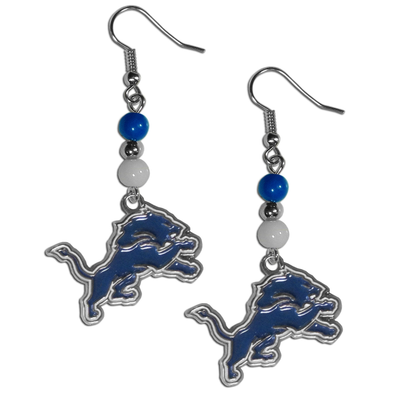 Detroit Lions Fan Bead Dangle Earrings - Love your team, show it off with our Detroit Lions bead dangle earrings! These super cute earrings hang approximately 2 inches and features 2 team colored beads and a high polish team charm. A must have for game day!