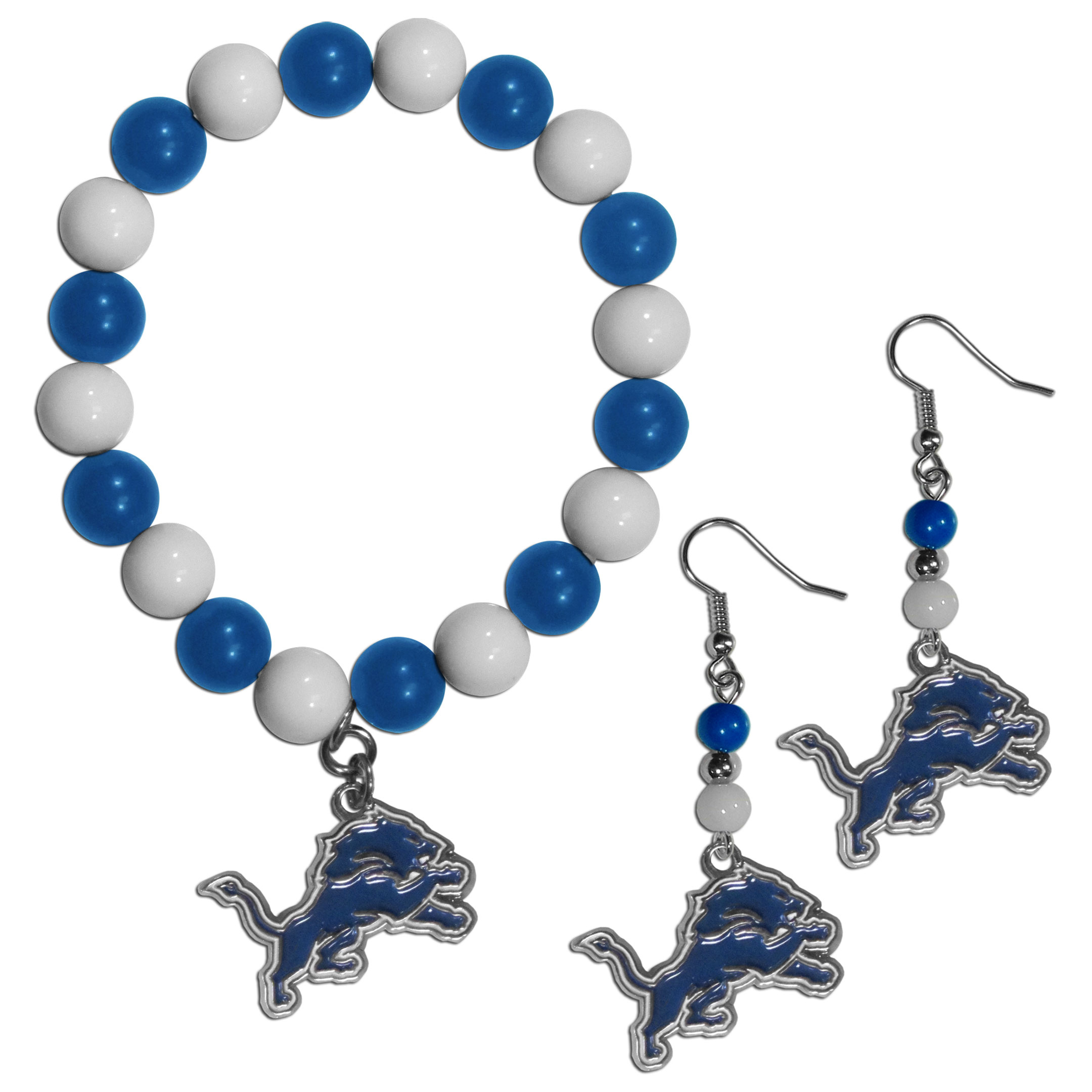 Detroit Lions Fan Bead Earrings and Bracelet Set - This fun and colorful Detroit Lions fan bead jewelry set is fun and casual with eye-catching beads in bright team colors. The fashionable dangle earrings feature a team colored beads that drop down to a carved and enameled charm. The stretch bracelet has larger matching beads that make a striking statement and have a matching team charm. These sassy yet sporty jewelry pieces make a perfect gift for any female fan. Spice up your game-day outfit with these fun colorful earrings and bracelet that are also cute enough for any day.