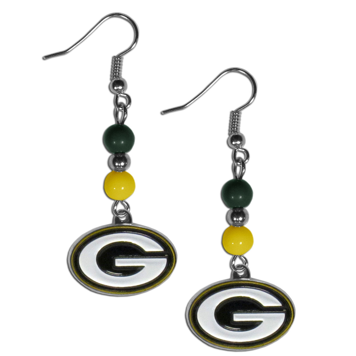 Green Bay Packers Fan Bead Dangle Earrings - Love your team, show it off with our Green Bay Packers bead dangle earrings! These super cute earrings hang approximately 2 inches and features 2 team colored beads and a high polish team charm. A must have for game day!