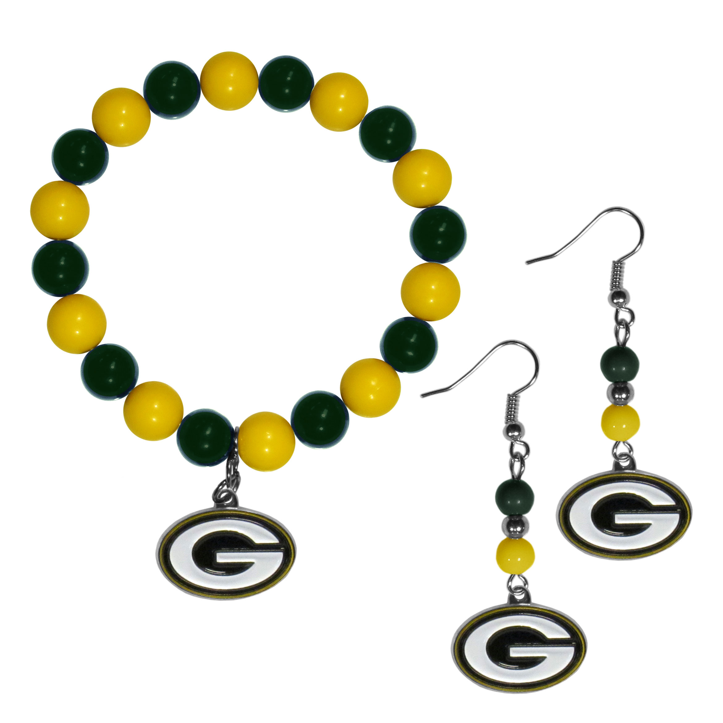 Green Bay Packers Fan Bead Earrings and Bracelet Set - This fun and colorful Green Bay Packers fan bead jewelry set is fun and casual with eye-catching beads in bright team colors. The fashionable dangle earrings feature a team colored beads that drop down to a carved and enameled charm. The stretch bracelet has larger matching beads that make a striking statement and have a matching team charm. These sassy yet sporty jewelry pieces make a perfect gift for any female fan. Spice up your game-day outfit with these fun colorful earrings and bracelet that are also cute enough for any day.