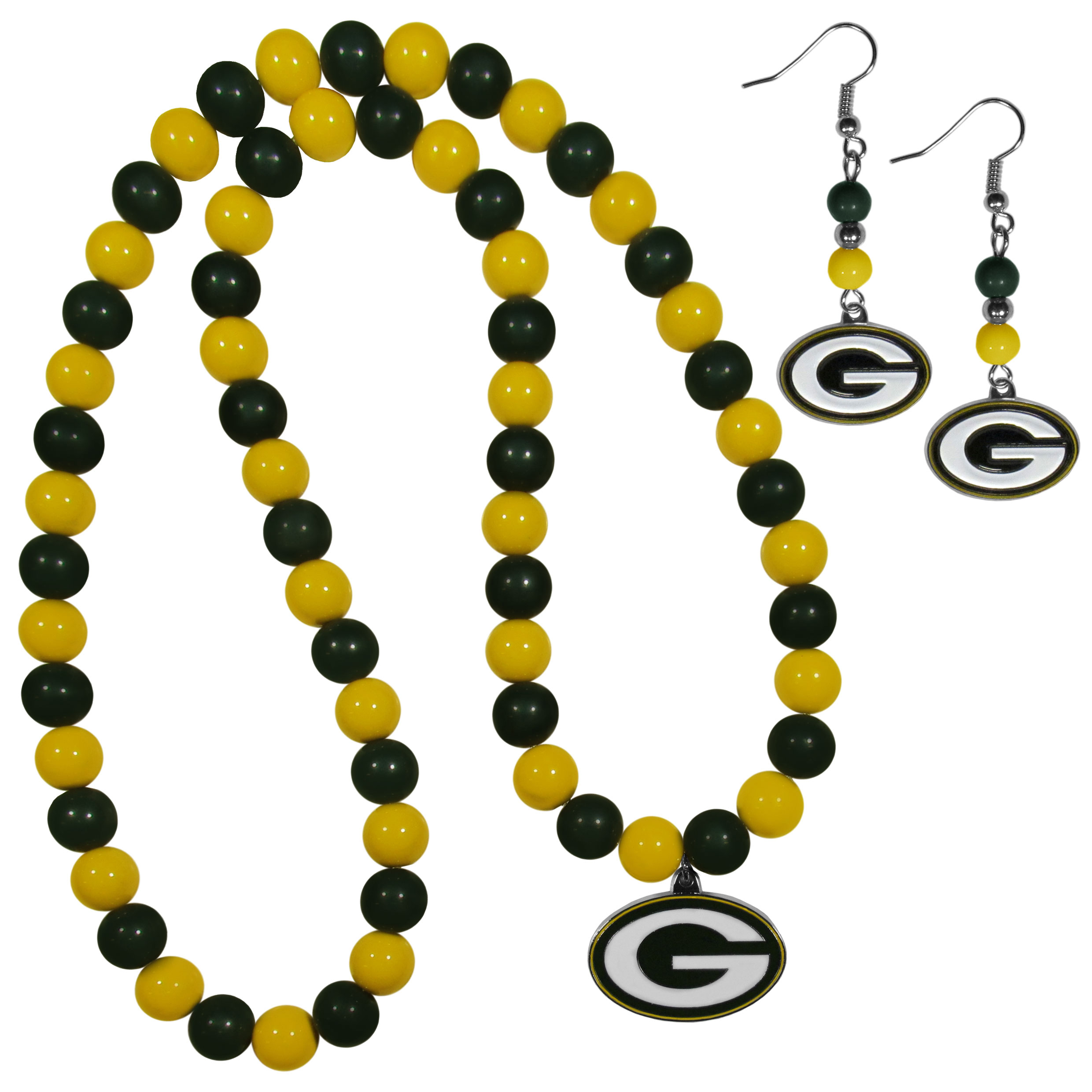 Green Bay Packers Fan Bead Earrings and Necklace Set - These fun and colorful Green Bay Packers fan bead jewelry pieces are an eyecatching way to show off your team spirit. The earrings feature hypoallergenic, nickel free fishhook post and 2 team colored beads with a beautifully carved team charm to finish this attractive dangle look. The mathcing bracelet has alternating team colored beads on a stretch cord and features a matching team charm.