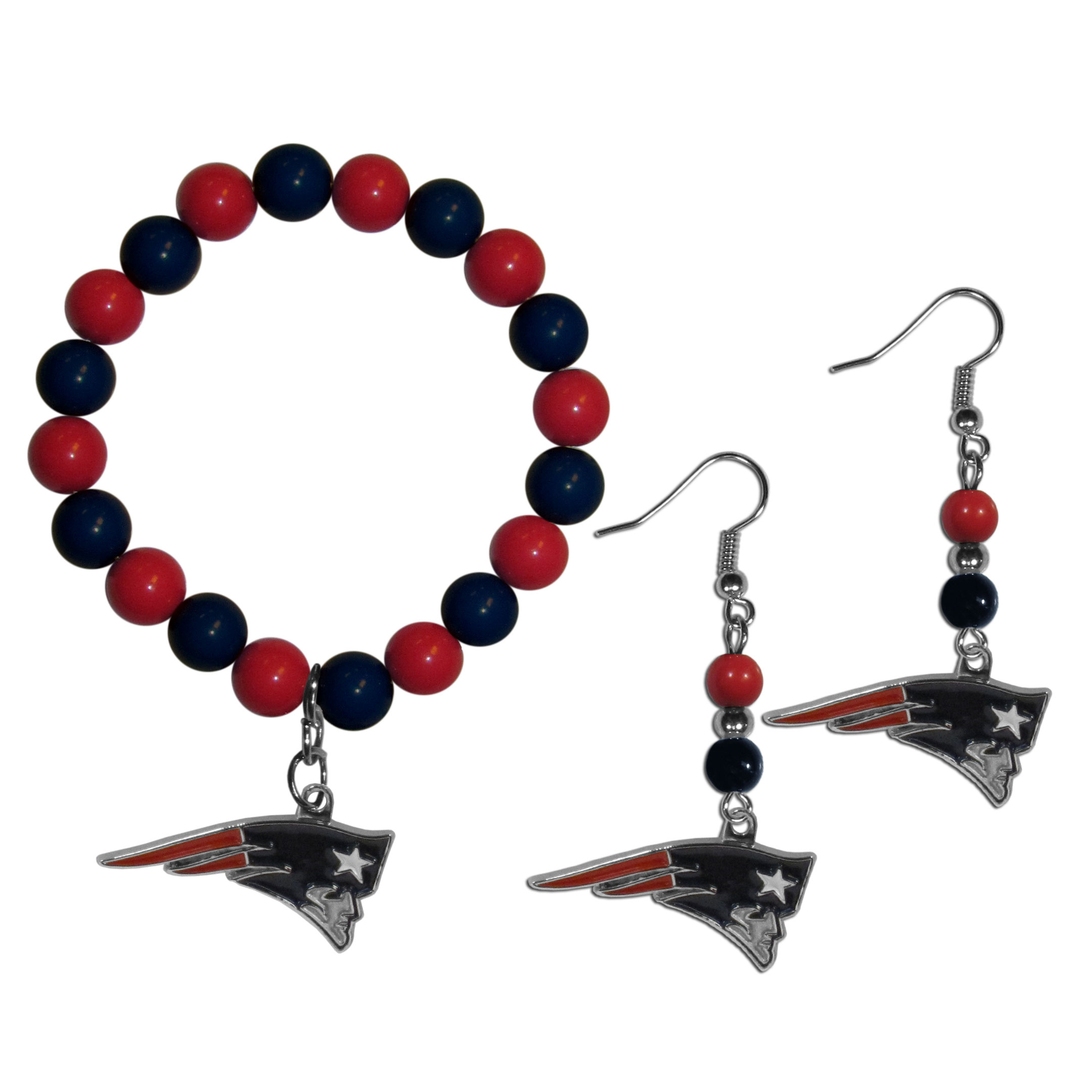 New England Patriots Fan Bead Earrings and Bracelet Set - This fun and colorful New England Patriots fan bead jewelry set is fun and casual with eye-catching beads in bright team colors. The fashionable dangle earrings feature a team colored beads that drop down to a carved and enameled charm. The stretch bracelet has larger matching beads that make a striking statement and have a matching team charm. These sassy yet sporty jewelry pieces make a perfect gift for any female fan. Spice up your game-day outfit with these fun colorful earrings and bracelet that are also cute enough for any day.