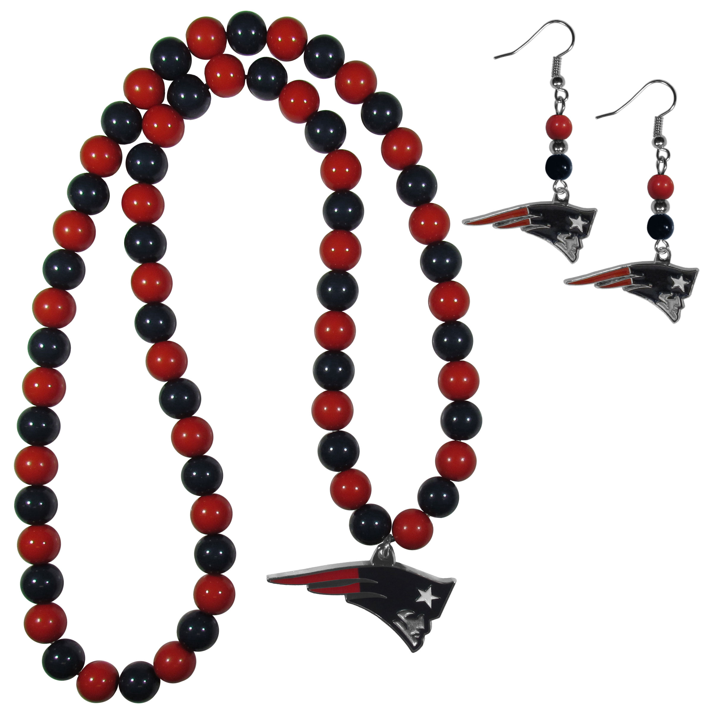 New England Patriots Fan Bead Earrings and Necklace Set - These fun and colorful New England Patriots fan bead jewelry pieces are an eyecatching way to show off your team spirit. The earrings feature hypoallergenic, nickel free fishhook post and 2 team colored beads with a beautifully carved team charm to finish this attractive dangle look. The mathcing bracelet has alternating team colored beads on a stretch cord and features a matching team charm.