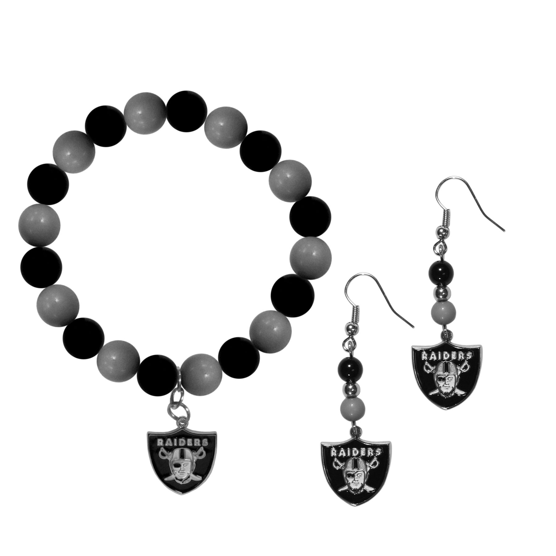 Oakland Raiders Fan Bead Earrings and Bracelet Set - This fun and colorful Oakland Raiders fan bead jewelry set is fun and casual with eye-catching beads in bright team colors. The fashionable dangle earrings feature a team colored beads that drop down to a carved and enameled charm. The stretch bracelet has larger matching beads that make a striking statement and have a matching team charm. These sassy yet sporty jewelry pieces make a perfect gift for any female fan. Spice up your game-day outfit with these fun colorful earrings and bracelet that are also cute enough for any day.