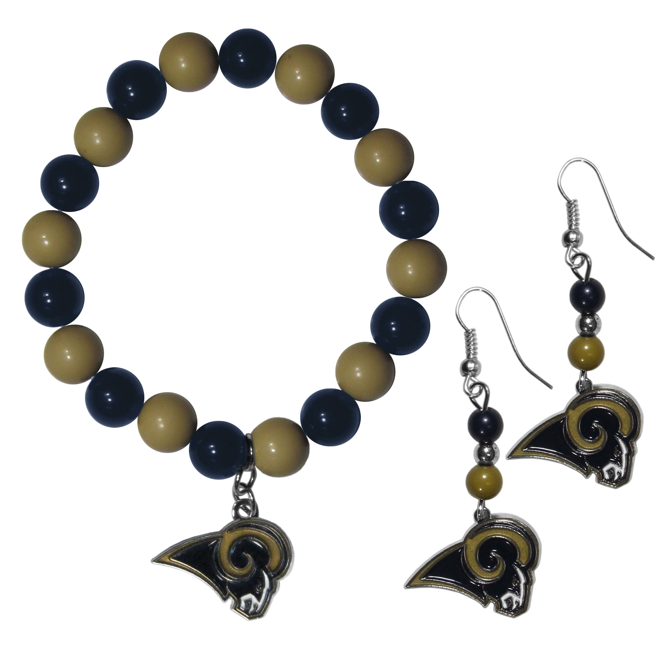 Los Angeles Rams Fan Bead Earrings and Bracelet Set - This fun and colorful Los Angeles Rams fan bead jewelry set is fun and casual with eye-catching beads in bright team colors. The fashionable dangle earrings feature a team colored beads that drop down to a carved and enameled charm. The stretch bracelet has larger matching beads that make a striking statement and have a matching team charm. These sassy yet sporty jewelry pieces make a perfect gift for any female fan. Spice up your game-day outfit with these fun colorful earrings and bracelet that are also cute enough for any day.