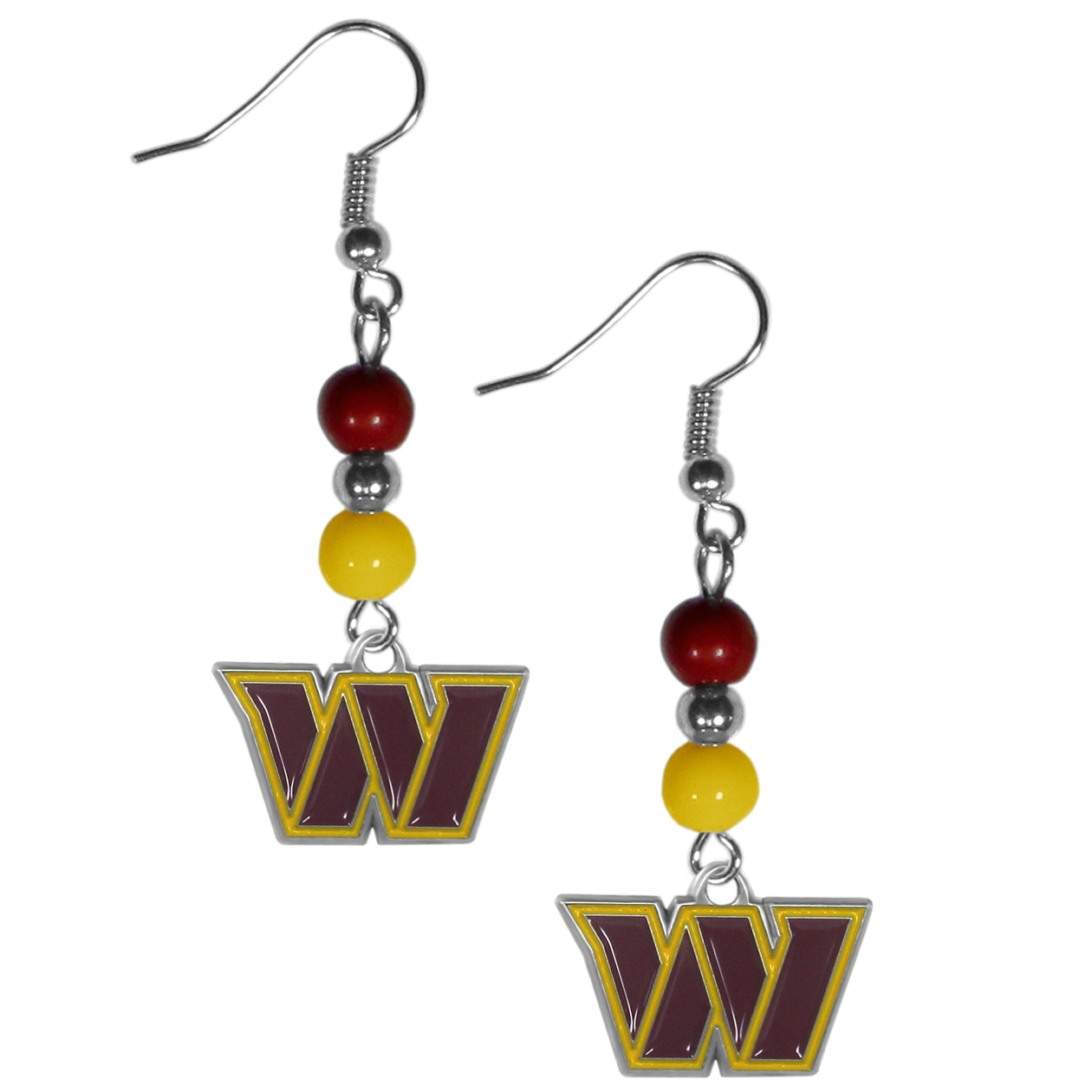 Washington Redskins Fan Bead Dangle Earrings - Love your team, show it off with our Washington Redskins bead dangle earrings! These super cute earrings hang approximately 2 inches and features 2 team colored beads and a high polish team charm. A must have for game day!
