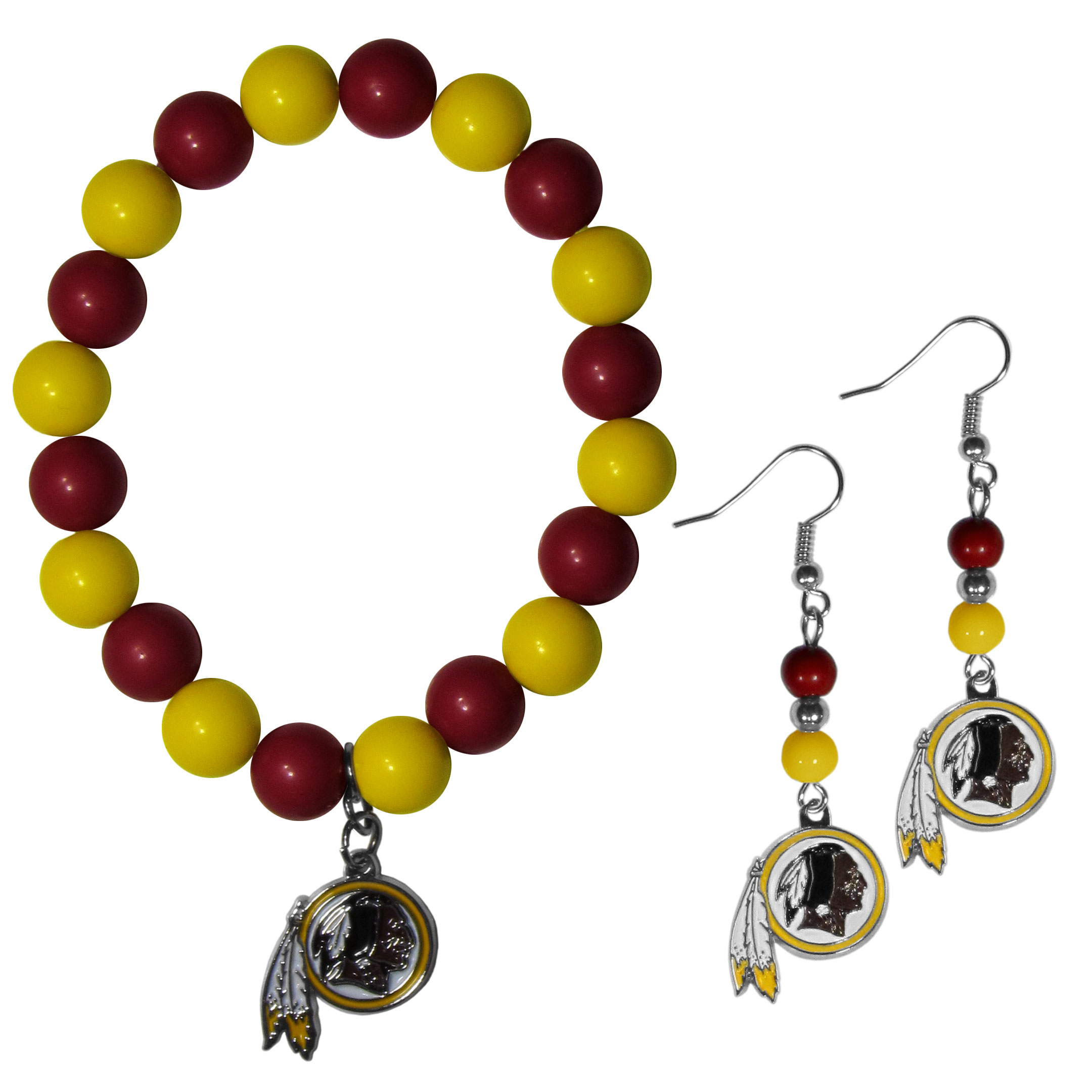 Washington Redskins Fan Bead Earrings and Bracelet Set - This fun and colorful Washington Redskins fan bead jewelry set is fun and casual with eye-catching beads in bright team colors. The fashionable dangle earrings feature a team colored beads that drop down to a carved and enameled charm. The stretch bracelet has larger matching beads that make a striking statement and have a matching team charm. These sassy yet sporty jewelry pieces make a perfect gift for any female fan. Spice up your game-day outfit with these fun colorful earrings and bracelet that are also cute enough for any day.