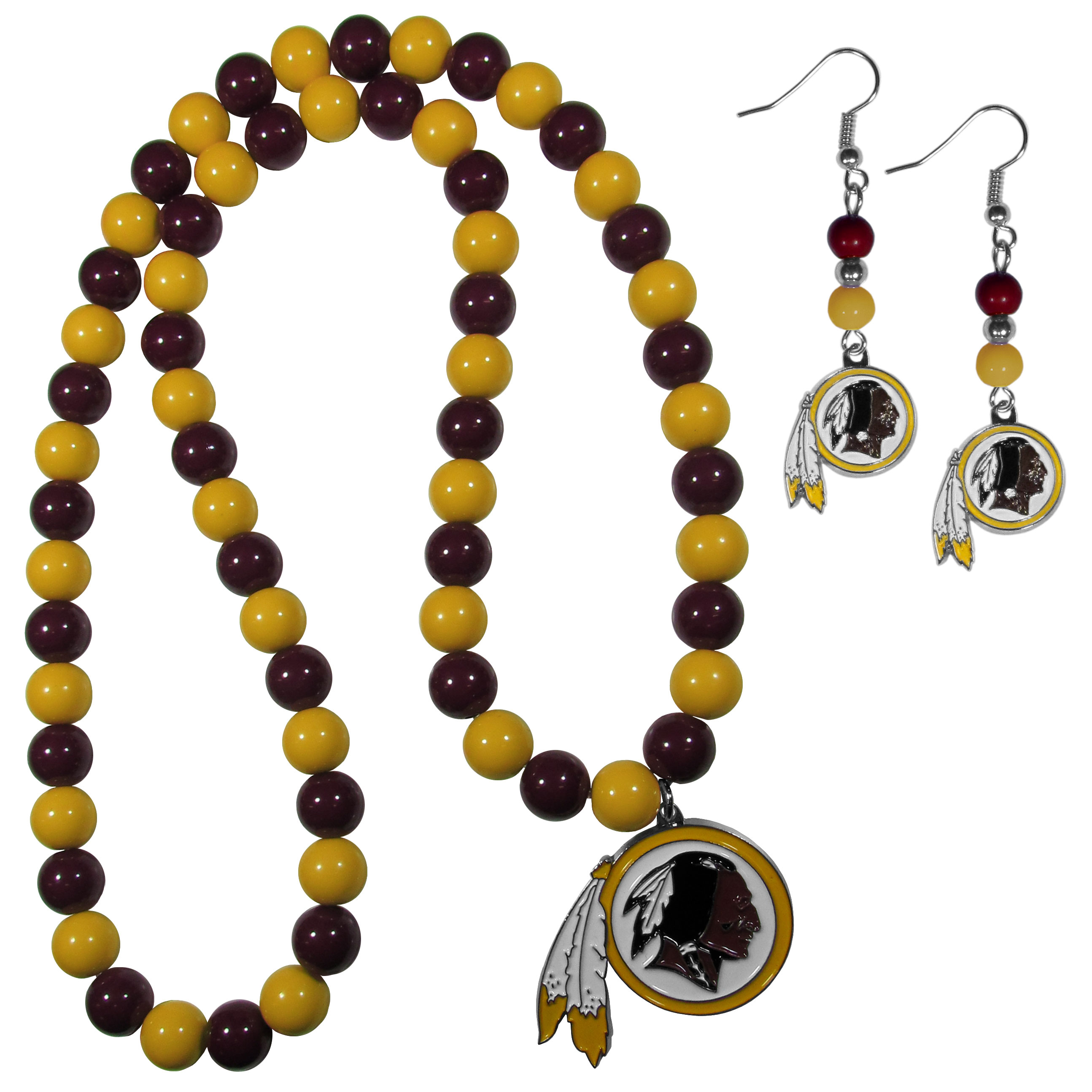 Washington Redskins Fan Bead Earrings and Necklace Set - These fun and colorful Washington Redskins fan bead jewelry pieces are an eyecatching way to show off your team spirit. The earrings feature hypoallergenic, nickel free fishhook post and 2 team colored beads with a beautifully carved team charm to finish this attractive dangle look. The mathcing bracelet has alternating team colored beads on a stretch cord and features a matching team charm.