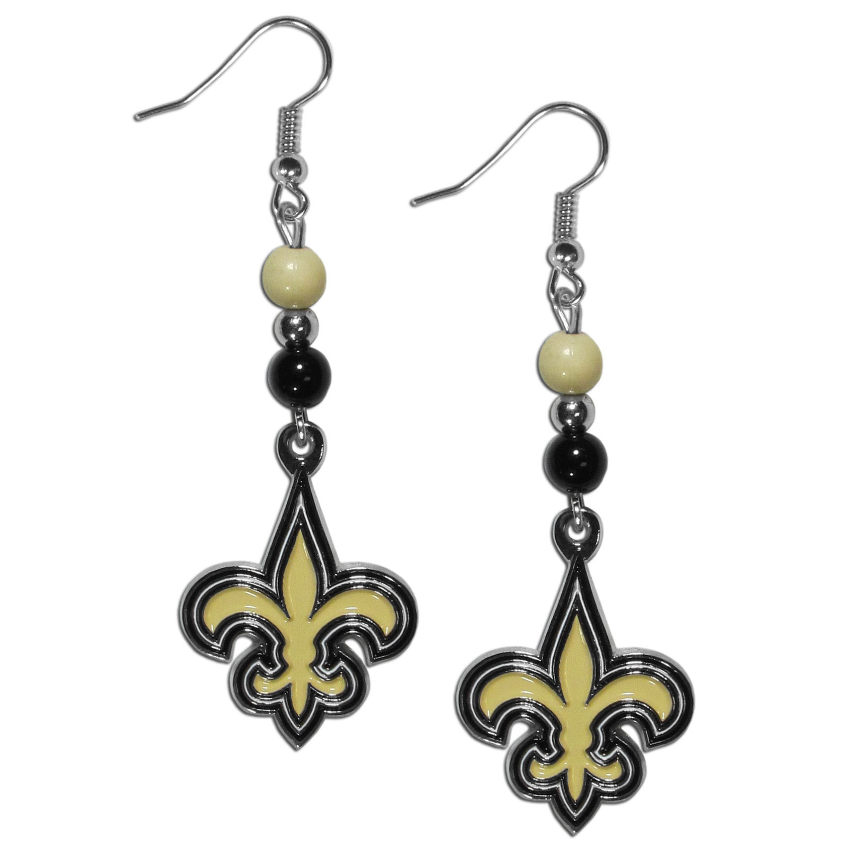 New Orleans Saints Fan Bead Dangle Earrings - Love your team, show it off with our New Orleans Saints bead dangle earrings! These super cute earrings hang approximately 2 inches and features 2 team colored beads and a high polish team charm. A must have for game day!