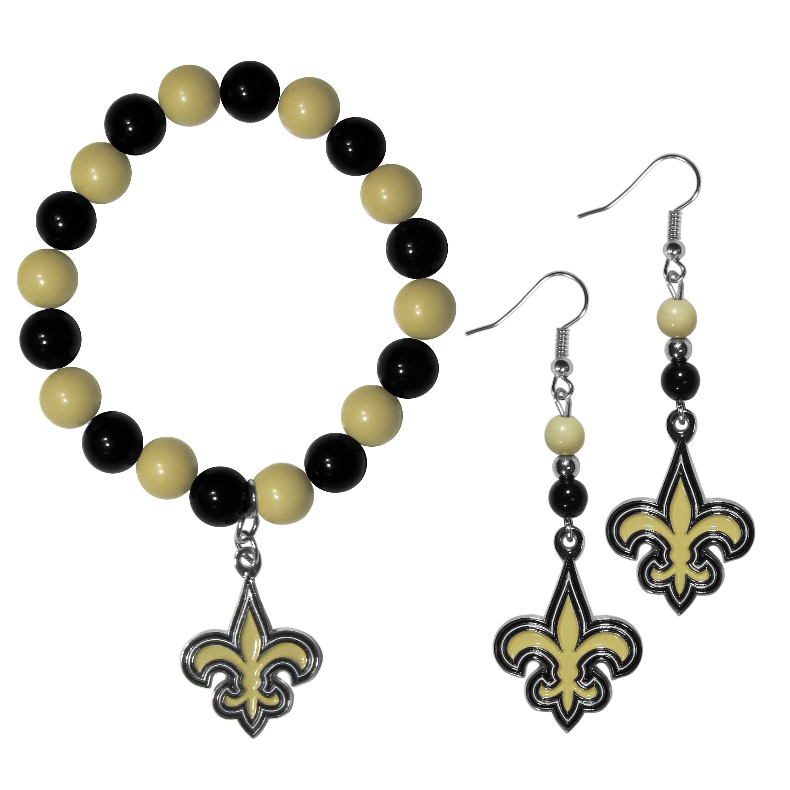 New Orleans Saints Fan Bead Earrings and Bracelet Set - This fun and colorful New Orleans Saints fan bead jewelry set is fun and casual with eye-catching beads in bright team colors. The fashionable dangle earrings feature a team colored beads that drop down to a carved and enameled charm. The stretch bracelet has larger matching beads that make a striking statement and have a matching team charm. These sassy yet sporty jewelry pieces make a perfect gift for any female fan. Spice up your game-day outfit with these fun colorful earrings and bracelet that are also cute enough for any day.