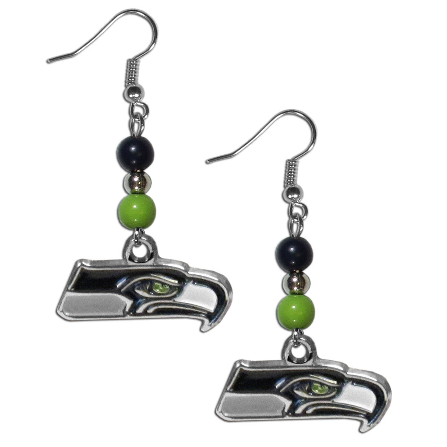 Seattle Seahawks Fan Bead Dangle Earrings - Love your team, show it off with our Seattle Seahawks bead dangle earrings! These super cute earrings hang approximately 2 inches and features 2 team colored beads and a high polish team charm. A must have for game day!