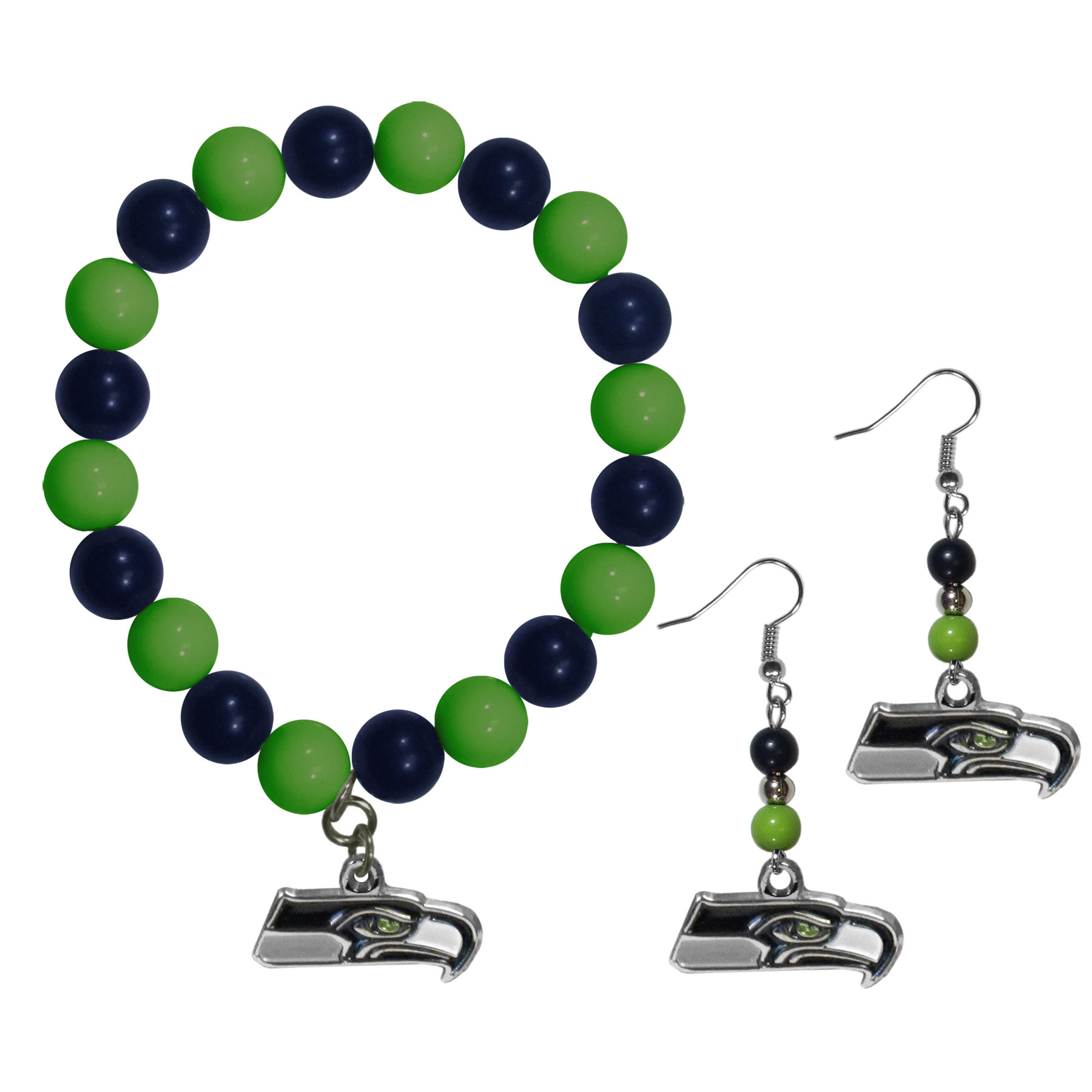Seattle Seahawks Fan Bead Earrings and Bracelet Set - This fun and colorful Seattle Seahawks fan bead jewelry set is fun and casual with eye-catching beads in bright team colors. The fashionable dangle earrings feature a team colored beads that drop down to a carved and enameled charm. The stretch bracelet has larger matching beads that make a striking statement and have a matching team charm. These sassy yet sporty jewelry pieces make a perfect gift for any female fan. Spice up your game-day outfit with these fun colorful earrings and bracelet that are also cute enough for any day.