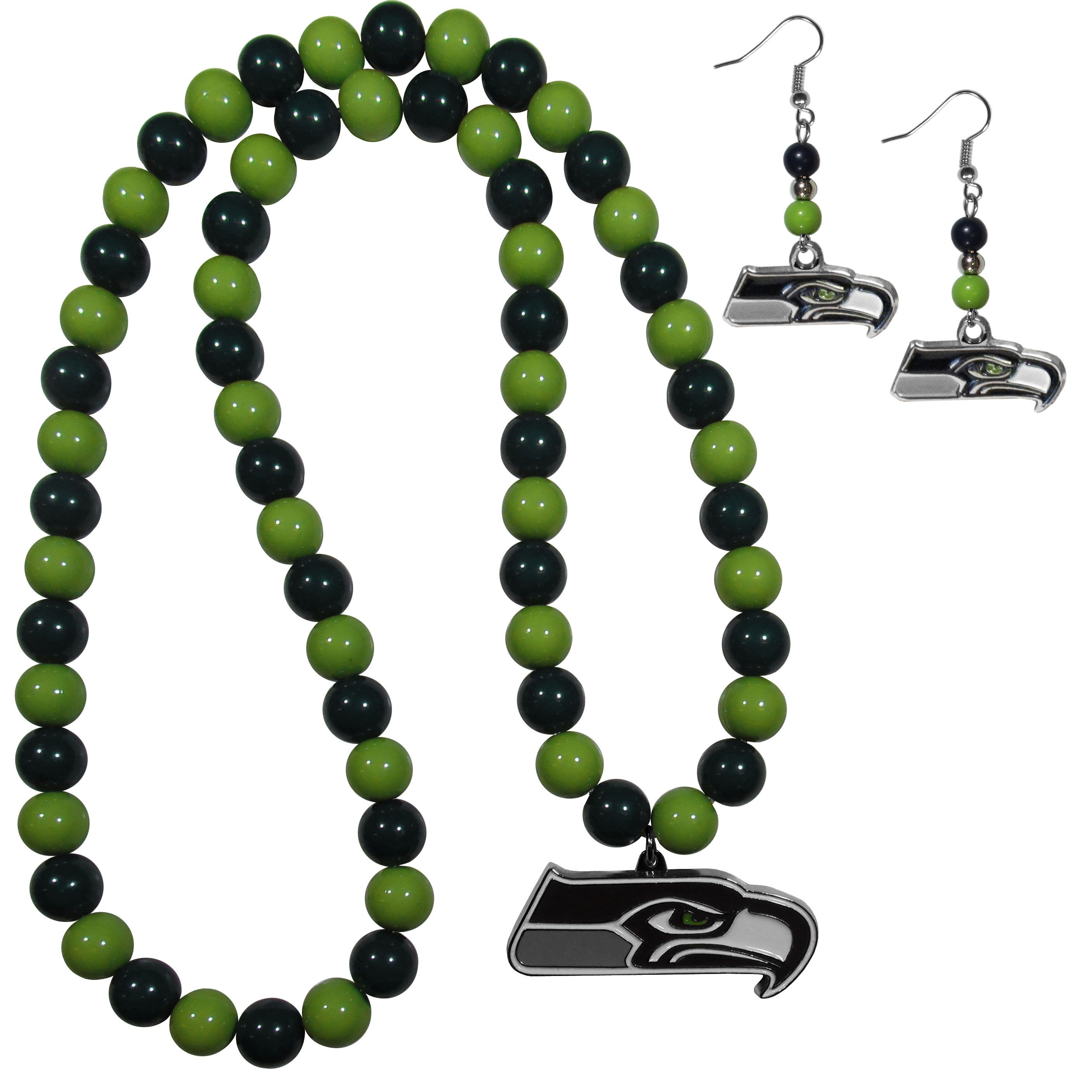 Seattle Seahawks Fan Bead Earrings and Necklace Set - These fun and colorful Seattle Seahawks fan bead jewelry pieces are an eyecatching way to show off your team spirit. The earrings feature hypoallergenic, nickel free fishhook post and 2 team colored beads with a beautifully carved team charm to finish this attractive dangle look. The mathcing bracelet has alternating team colored beads on a stretch cord and features a matching team charm.
