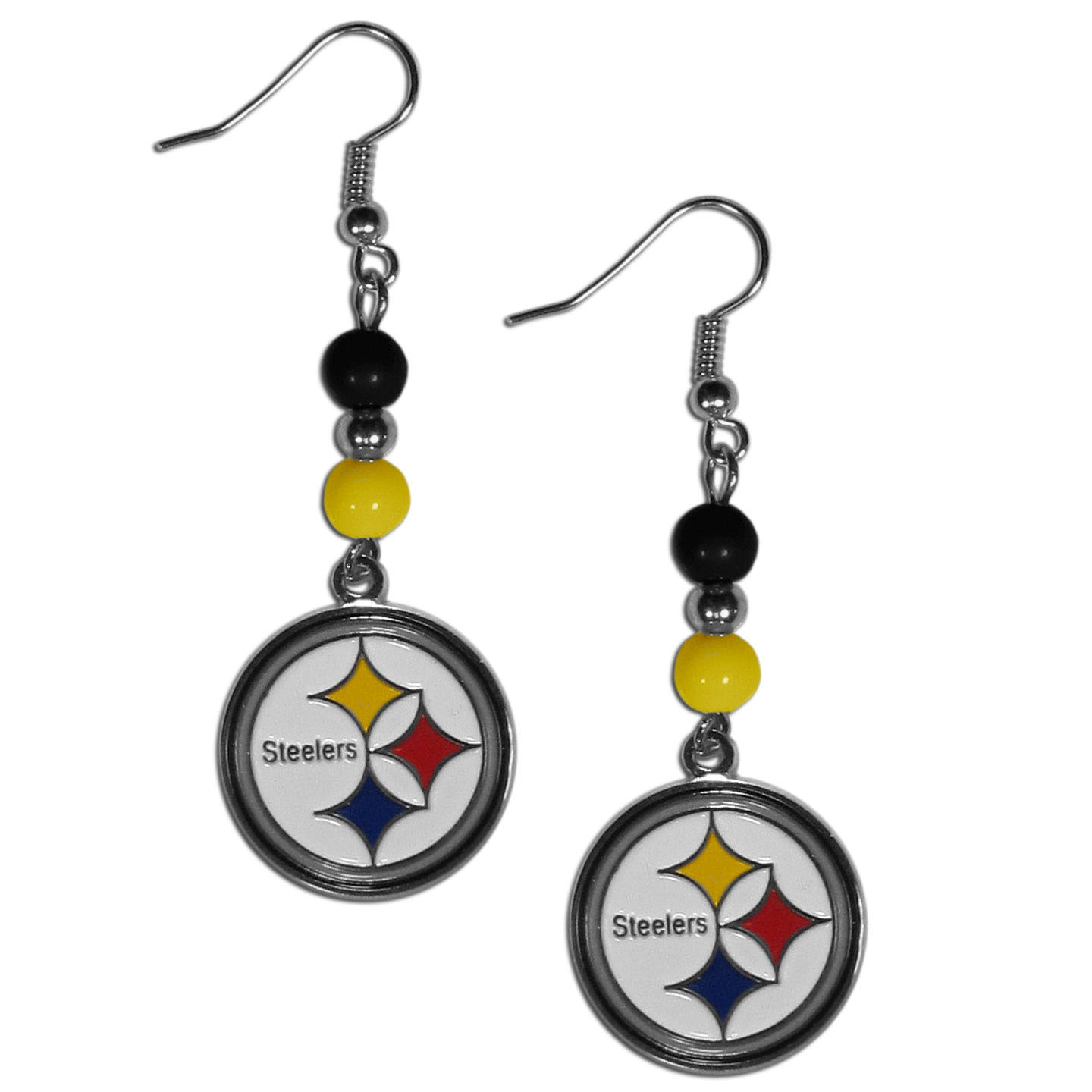 Pittsburgh Steelers Fan Bead Dangle Earrings - Love your team, show it off with our Pittsburgh Steelers bead dangle earrings! These super cute earrings hang approximately 2 inches and features 2 team colored beads and a high polish team charm. A must have for game day!