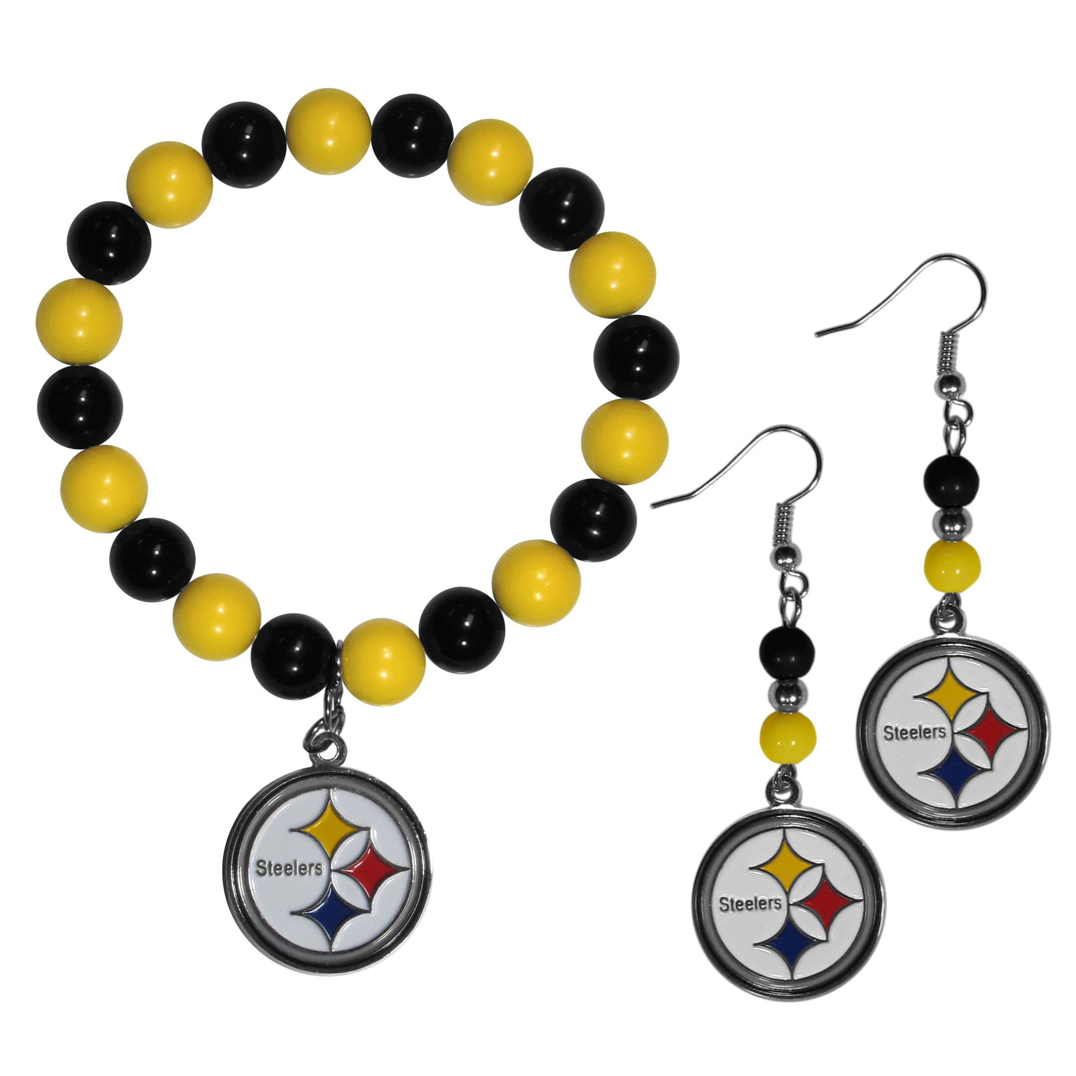 Pittsburgh Steelers Fan Bead Earrings and Bracelet Set - This fun and colorful Pittsburgh Steelers fan bead jewelry set is fun and casual with eye-catching beads in bright team colors. The fashionable dangle earrings feature a team colored beads that drop down to a carved and enameled charm. The stretch bracelet has larger matching beads that make a striking statement and have a matching team charm. These sassy yet sporty jewelry pieces make a perfect gift for any female fan. Spice up your game-day outfit with these fun colorful earrings and bracelet that are also cute enough for any day.