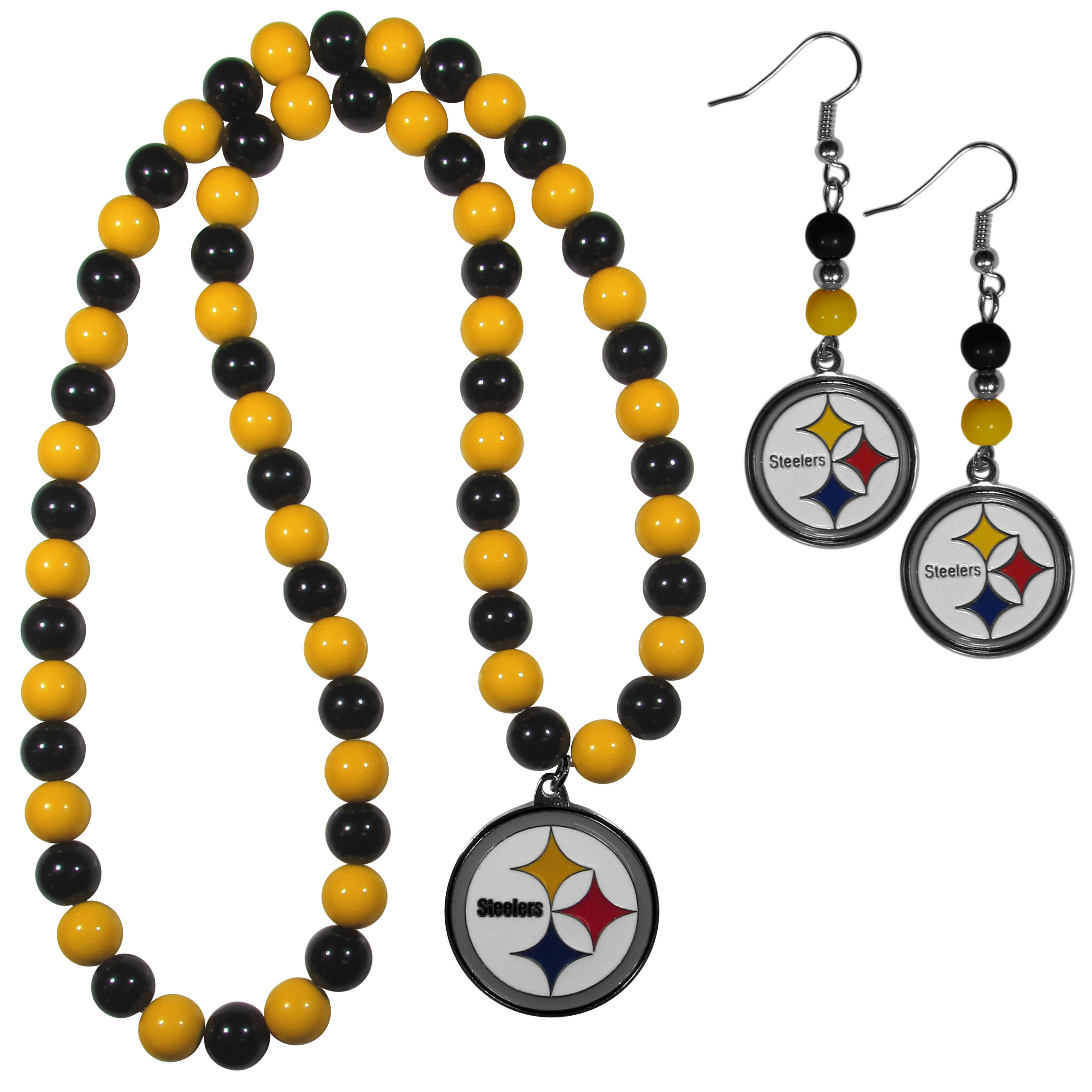 Pittsburgh Steelers Fan Bead Earrings and Necklace Set - These fun and colorful Pittsburgh Steelers fan bead jewelry pieces are an eyecatching way to show off your team spirit. The earrings feature hypoallergenic, nickel free fishhook post and 2 team colored beads with a beautifully carved team charm to finish this attractive dangle look. The mathcing bracelet has alternating team colored beads on a stretch cord and features a matching team charm.