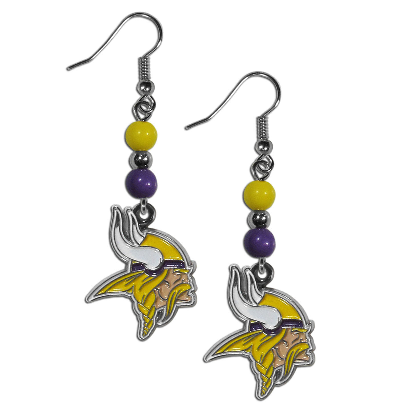 Minnesota Vikings Fan Bead Dangle Earrings - Love your team, show it off with our Minnesota Vikings bead dangle earrings! These super cute earrings hang approximately 2 inches and features 2 team colored beads and a high polish team charm. A must have for game day!
