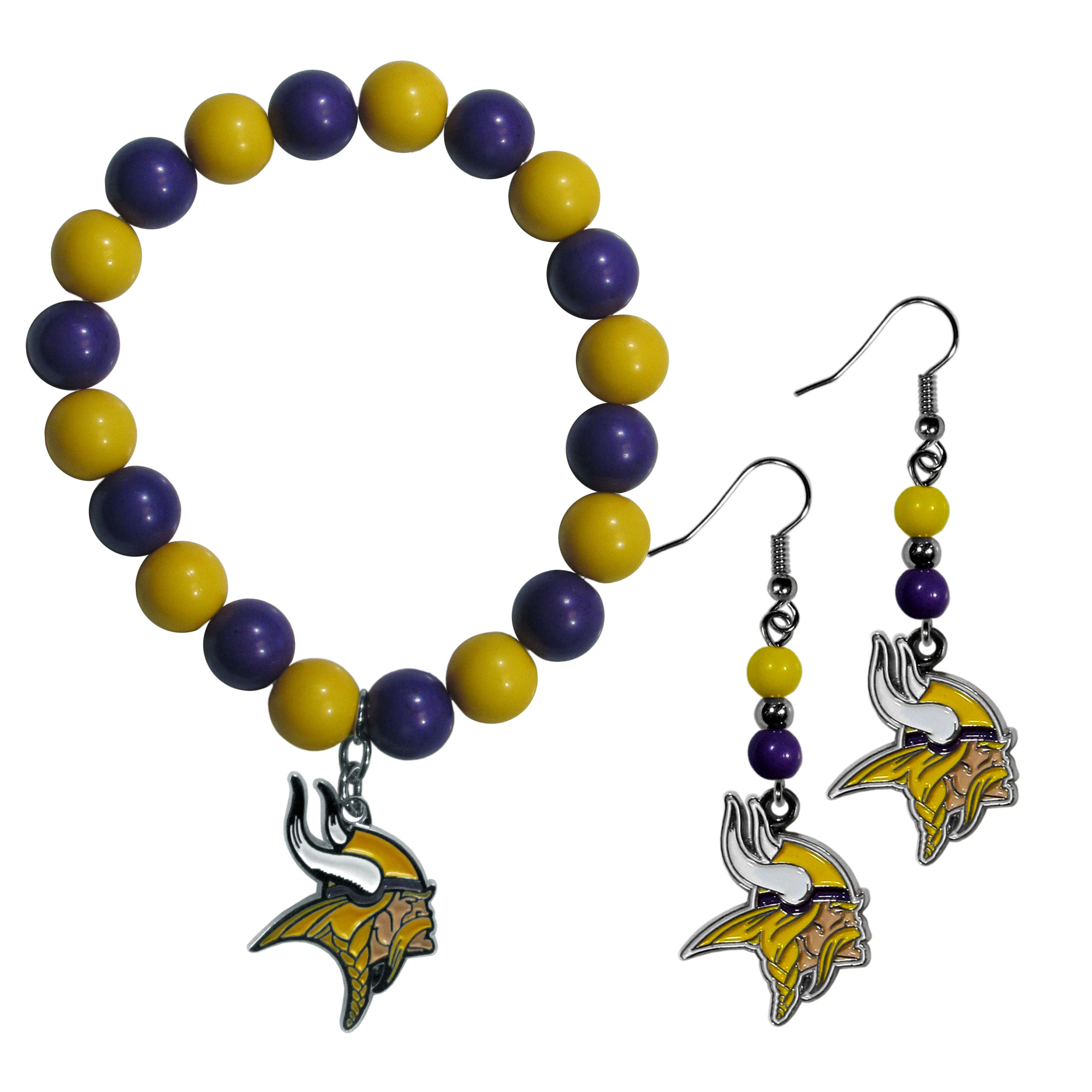 Minnesota Vikings Fan Bead Earrings and Bracelet Set - This fun and colorful Minnesota Vikings fan bead jewelry set is fun and casual with eye-catching beads in bright team colors. The fashionable dangle earrings feature a team colored beads that drop down to a carved and enameled charm. The stretch bracelet has larger matching beads that make a striking statement and have a matching team charm. These sassy yet sporty jewelry pieces make a perfect gift for any female fan. Spice up your game-day outfit with these fun colorful earrings and bracelet that are also cute enough for any day.