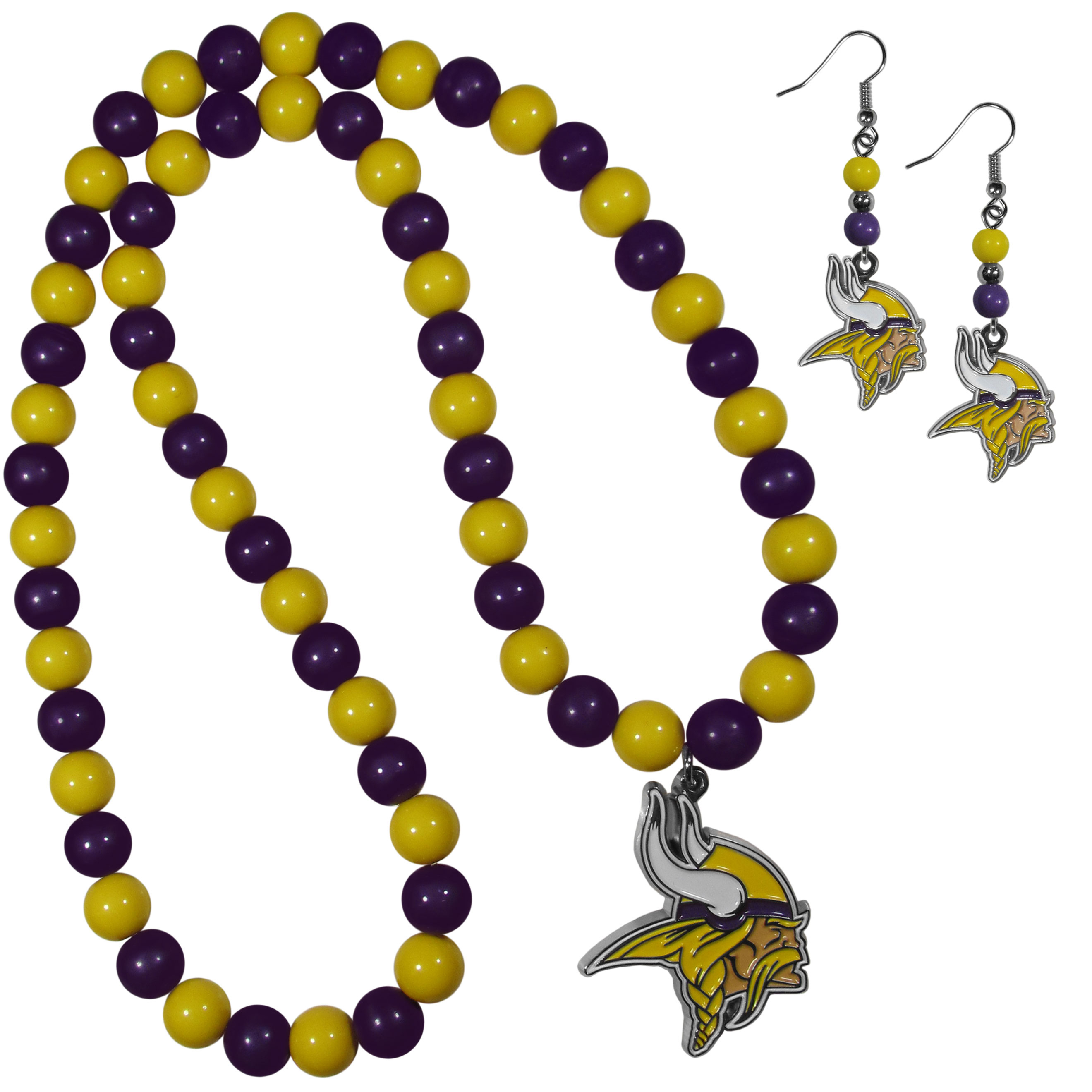 Minnesota Vikings Fan Bead Earrings and Necklace Set - These fun and colorful Minnesota Vikings fan bead jewelry pieces are an eyecatching way to show off your team spirit. The earrings feature hypoallergenic, nickel free fishhook post and 2 team colored beads with a beautifully carved team charm to finish this attractive dangle look. The mathcing bracelet has alternating team colored beads on a stretch cord and features a matching team charm.